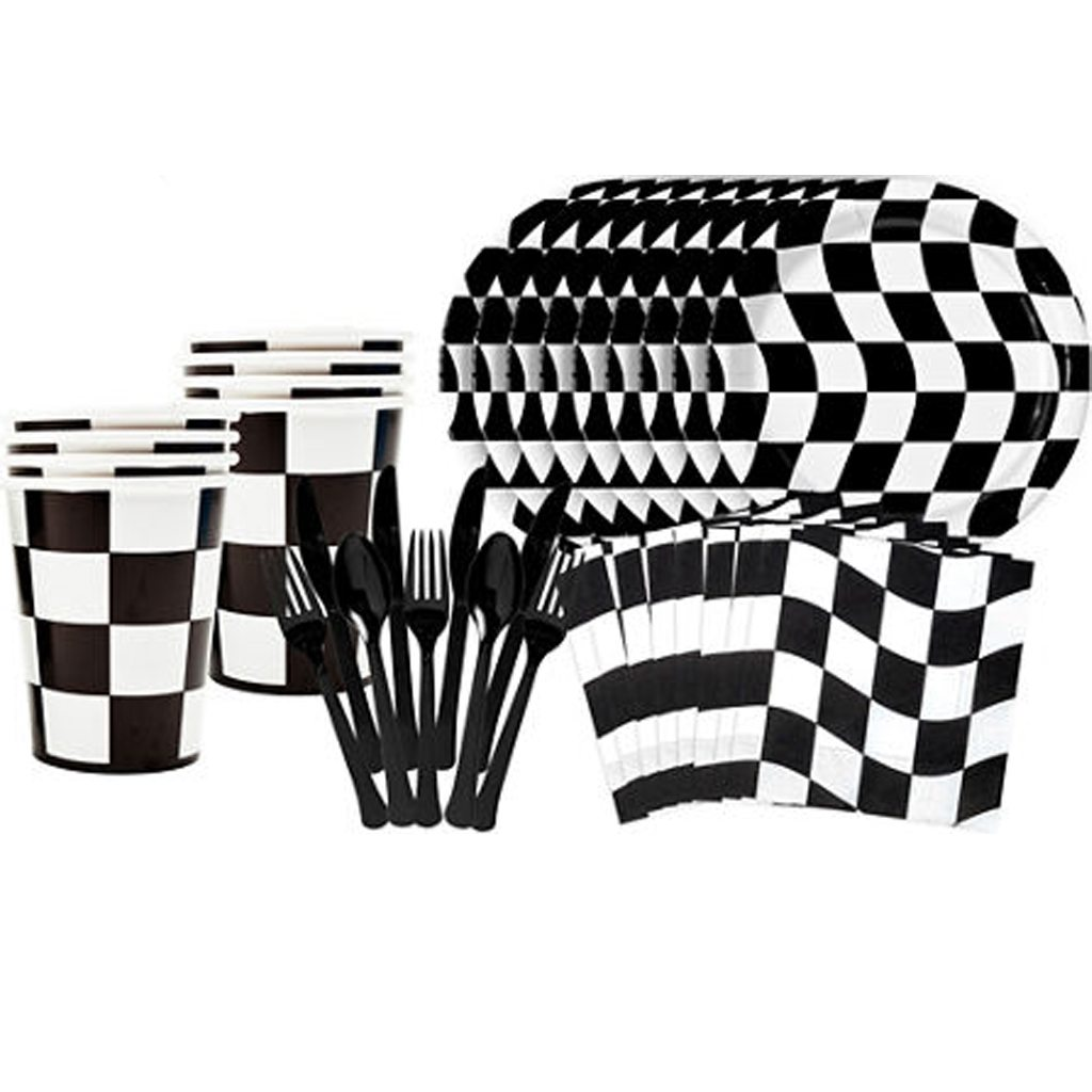 checkered tableware plates cups napkins utensils