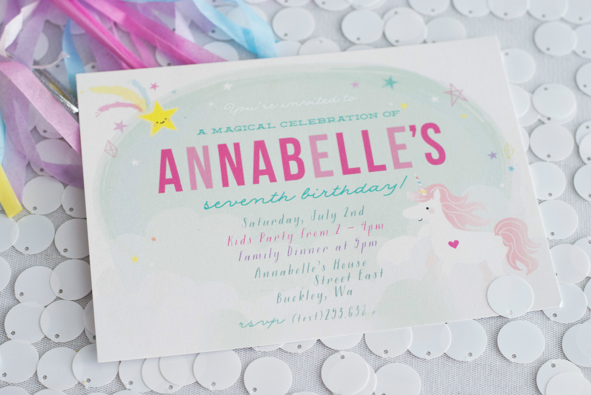 Invitation from Magical Unicorn Party | Black Twine | Itsy Belle Studio