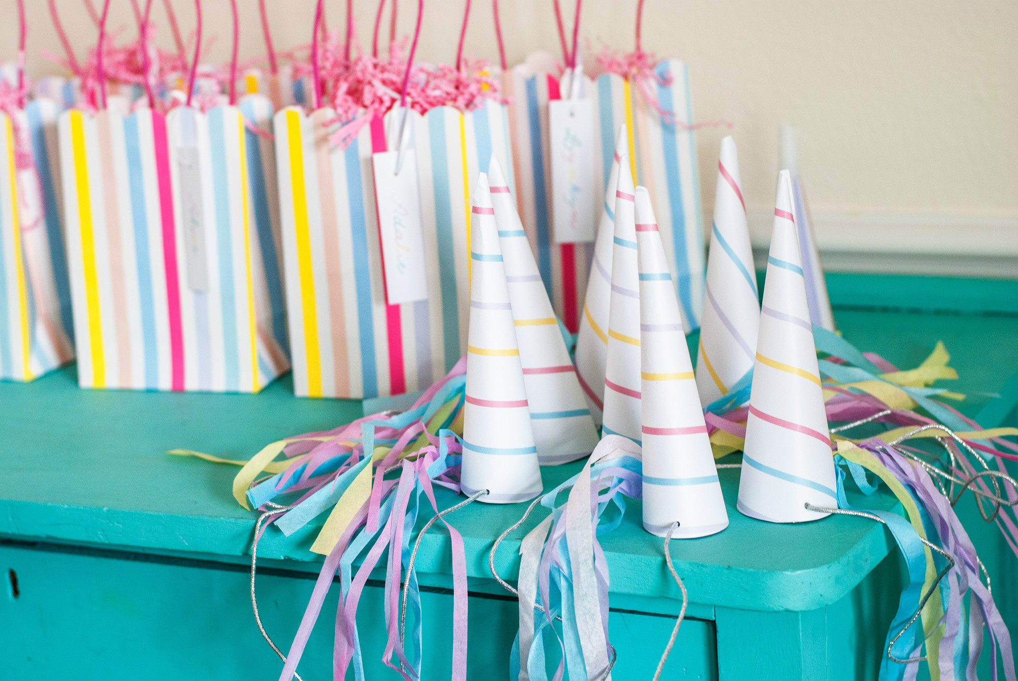 Unicorn horns and favor bags from Magical Unicorn Party | Black Twine | Itsy Belle Studio