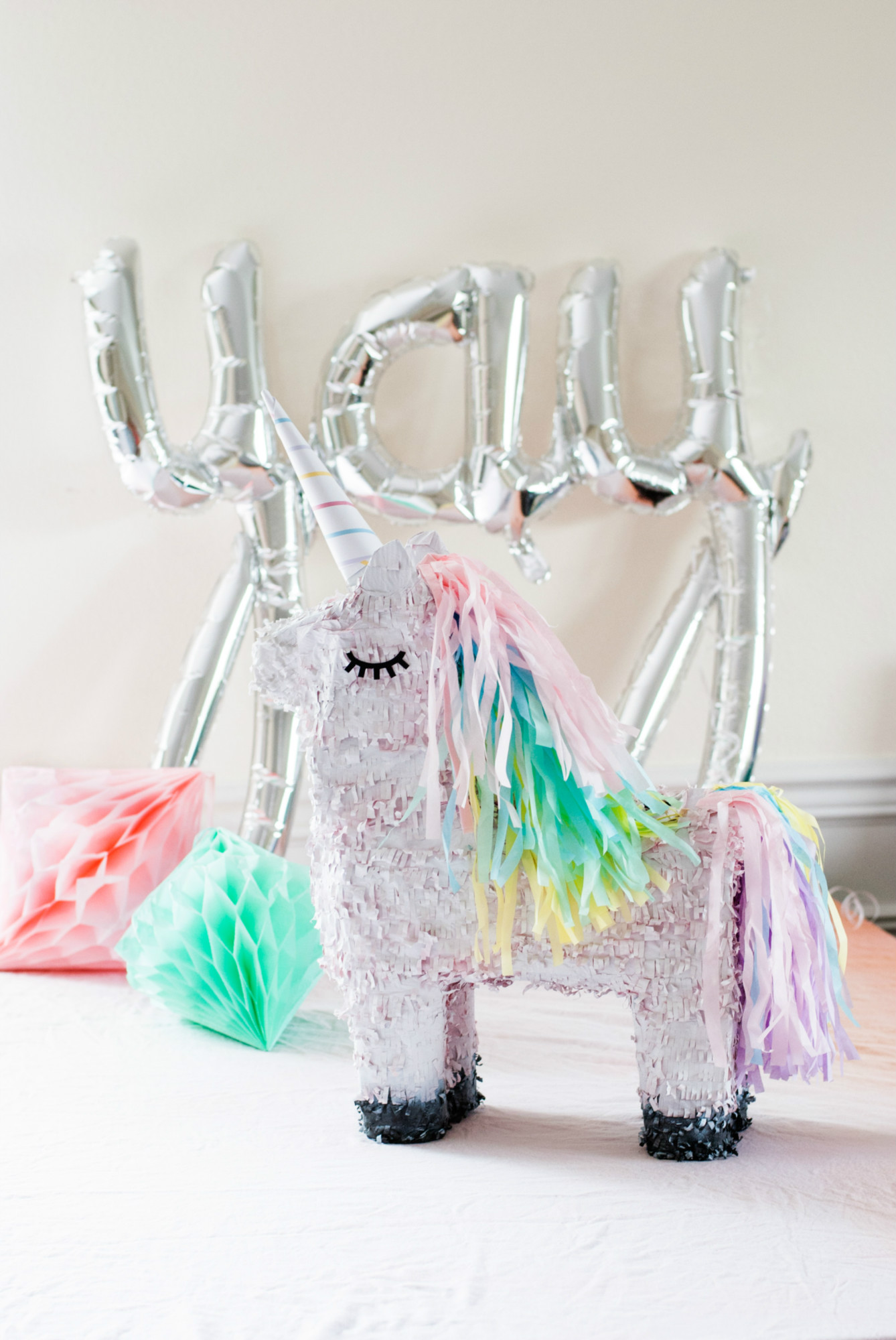 Yay Balloon and Unicorn Pinata from Magical Unicorn Party Dessert Table | Black Twine | Itsy Belle Studio