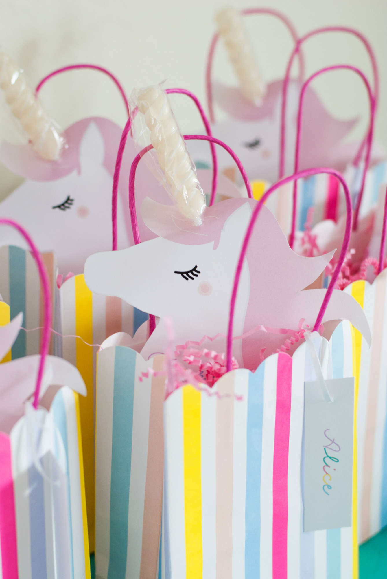 Unicorn favor bags from Magical Unicorn Party | Black Twine | Itsy Belle Studio
