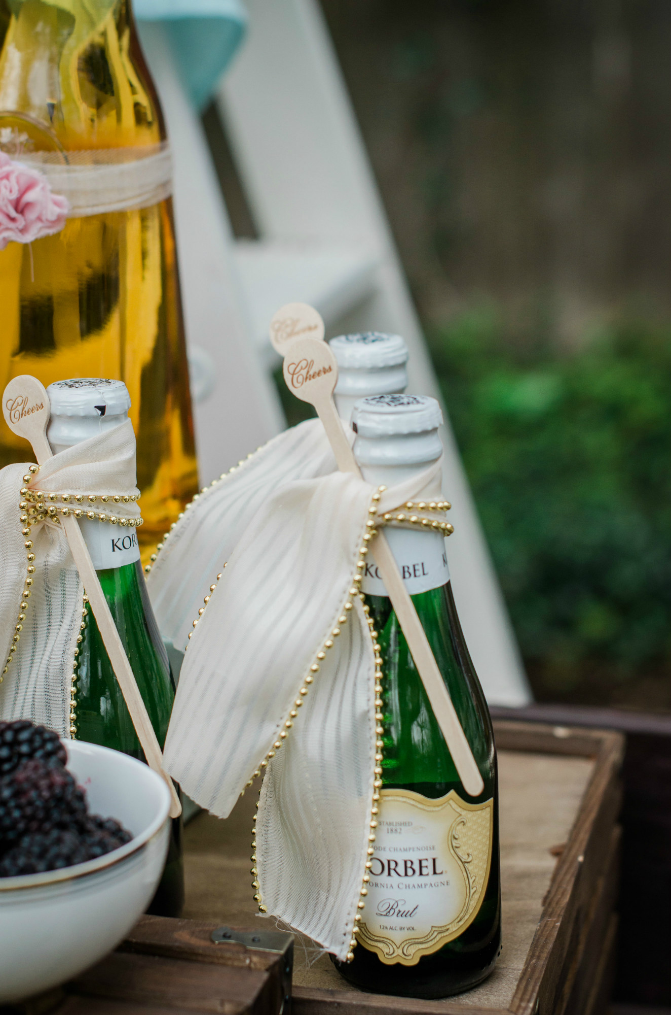 Champagne from Whimsical Mimosa Bar | Black Twine | Mint Event Design