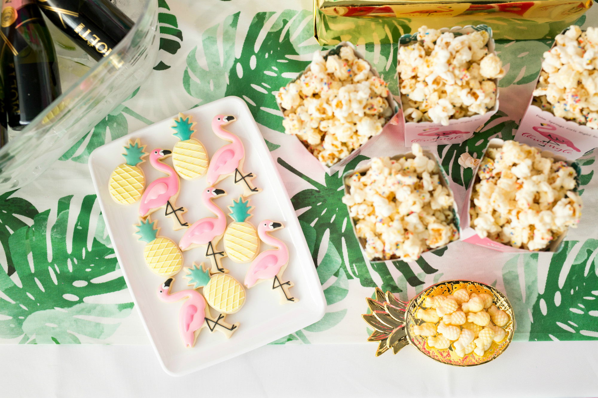 Sugar Cookies Sugarfina Pineapples and Popcorn from Palm Springs Girls Night In featuring Rose Mini Moet Champagne| Black Twine