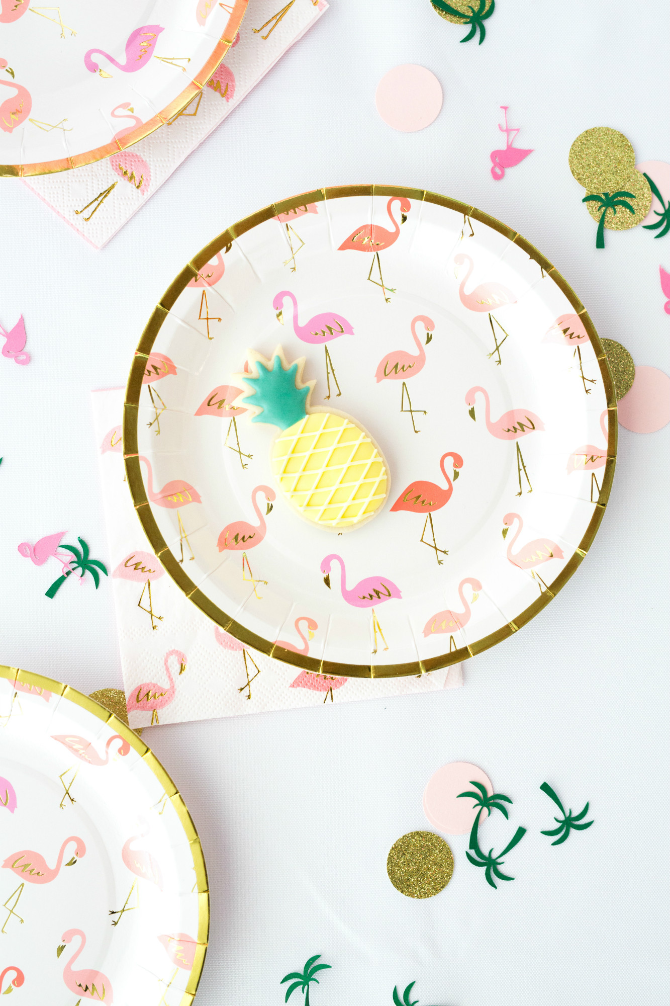 Flamingo Plates and Napkins from Palm Springs Girls Night In featuring Rose Mini Moet Champagne| Black Twine