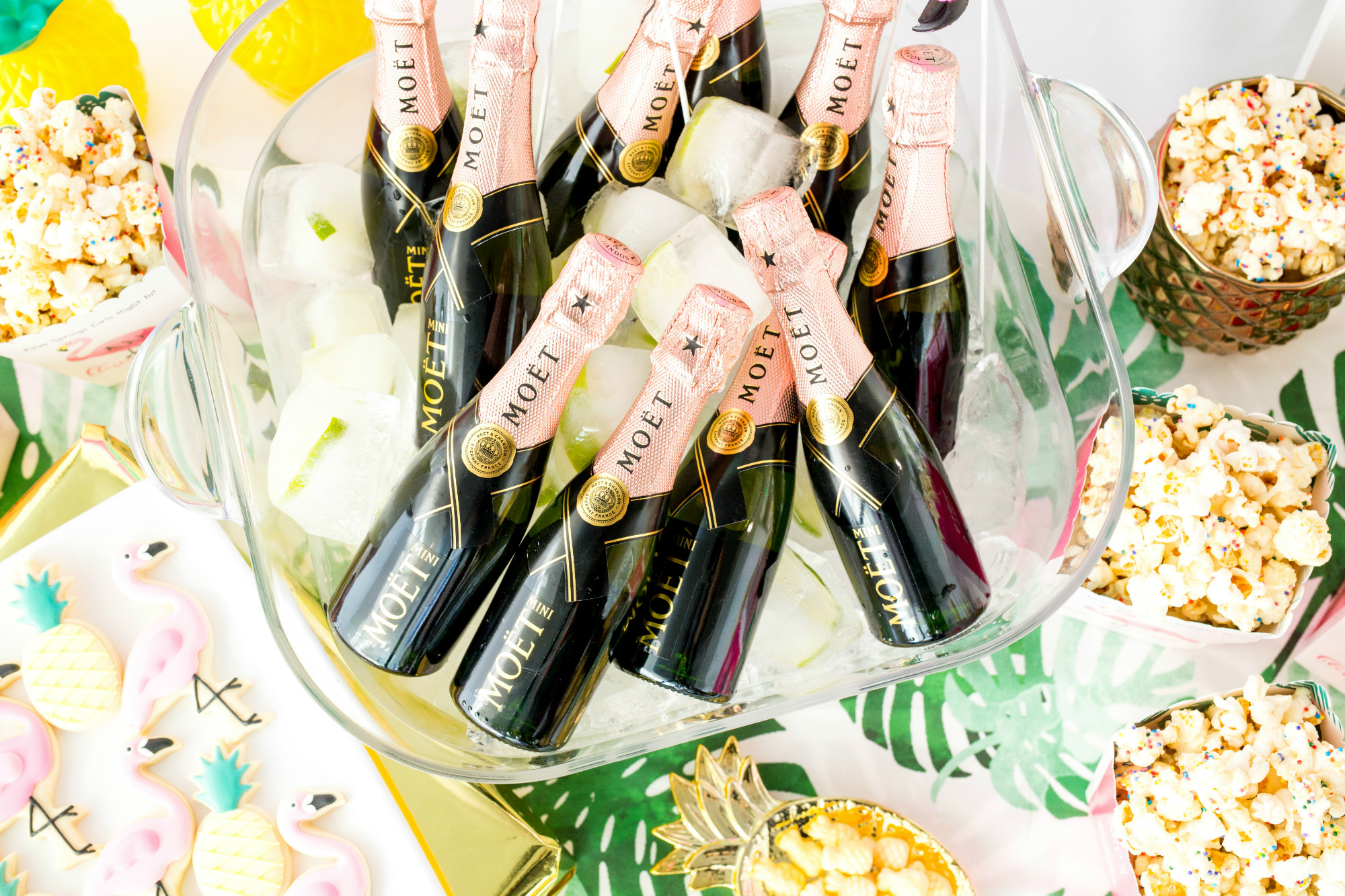Palm Springs Girls Night In featuring Rose Mini Moet Champagne| Black Twine