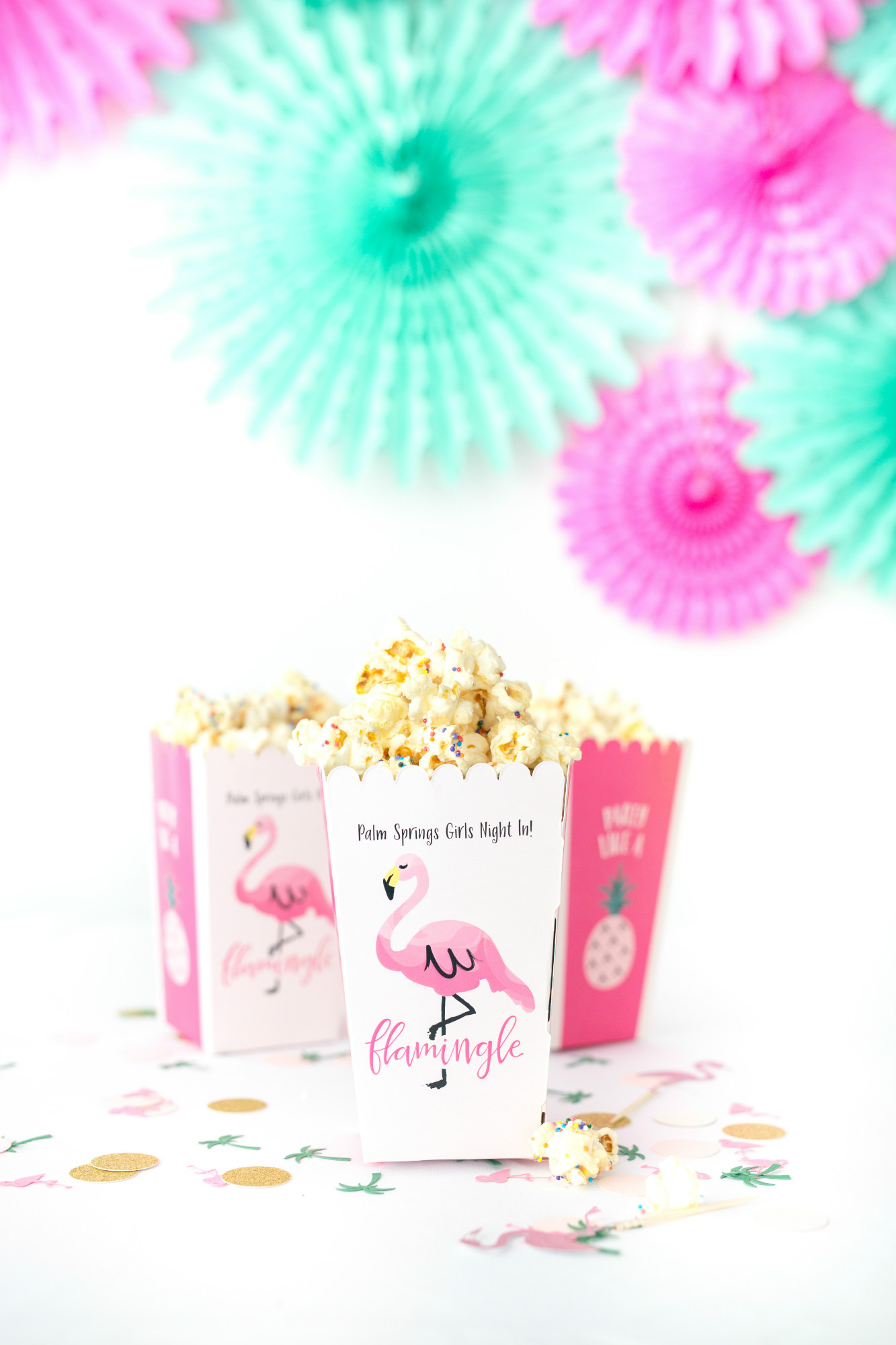 Sprinkle Popcorn from Palm Springs Girls Night In featuring Rose Mini Moet Champagne| Black Twine