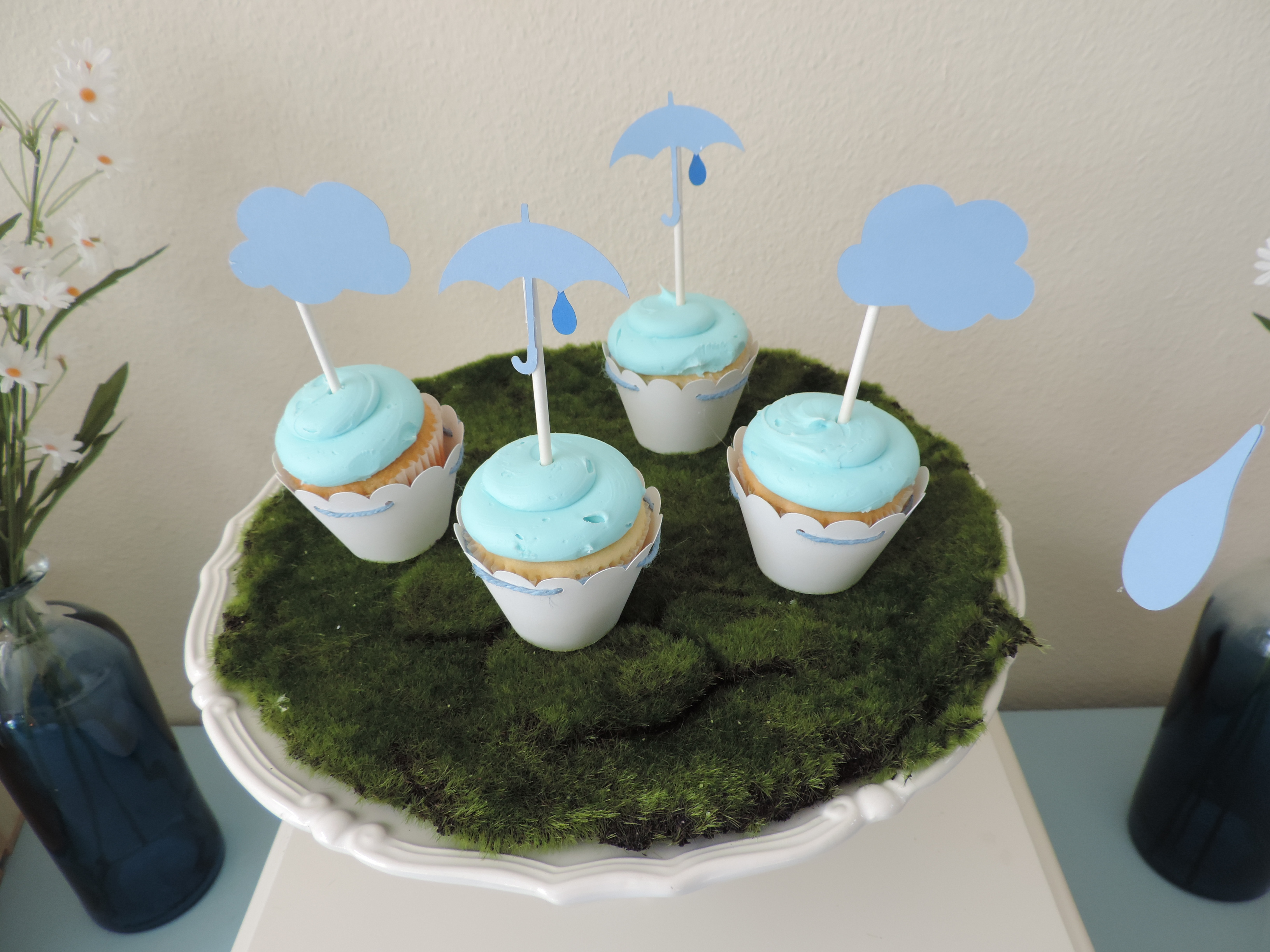 Cloud and umbrella cupcake toppers from Showered With Love Baby Shower by SugarPartiesLA | Black Twine