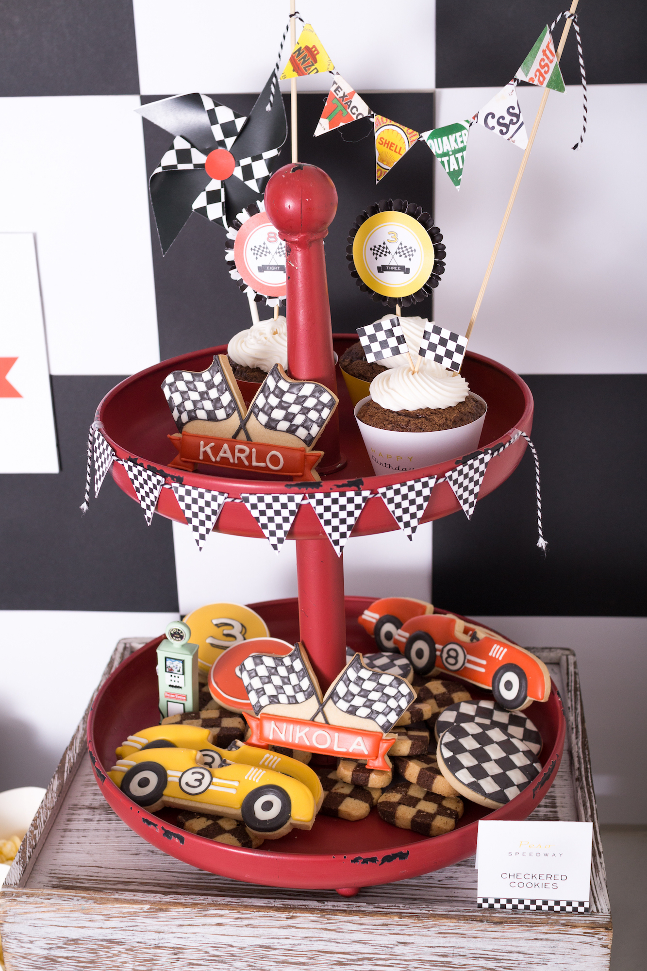 Race car party dessert stand | Black Twine | Tania's Design Studio