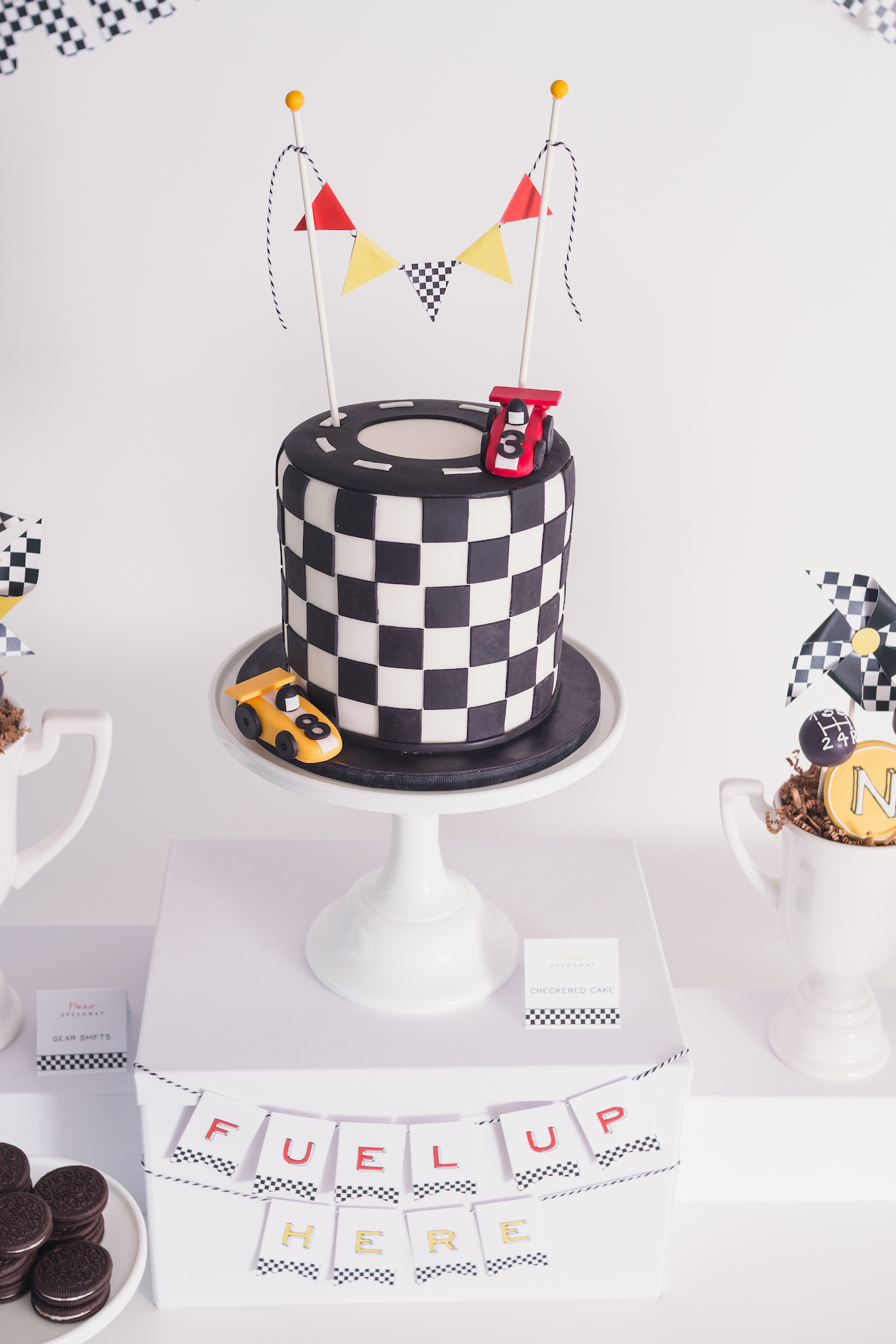 Race car party black and white checkered cake | Black Twine | Tania's Design Studio