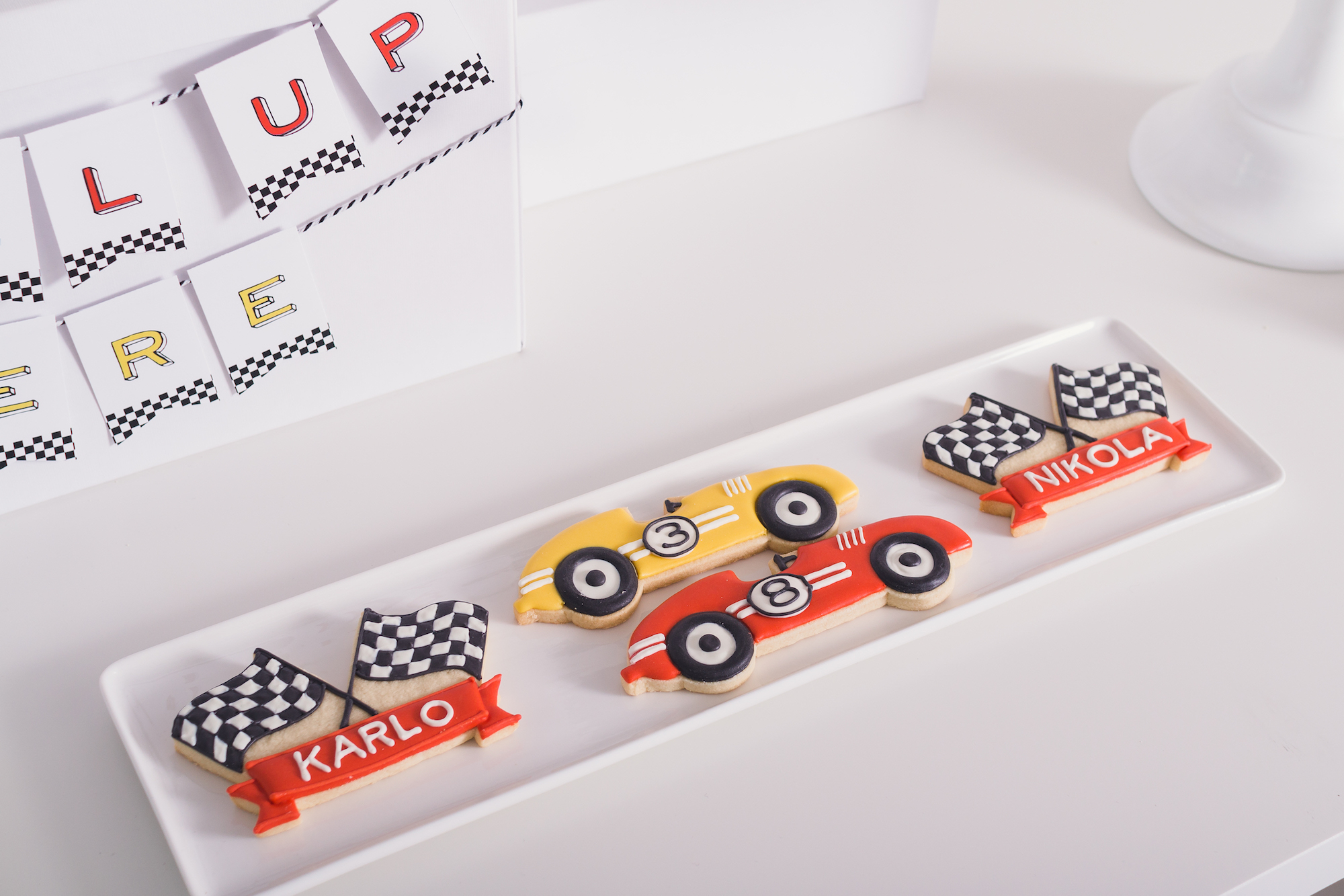 Race car party cookies | Black Twine | Tania's Design Studio