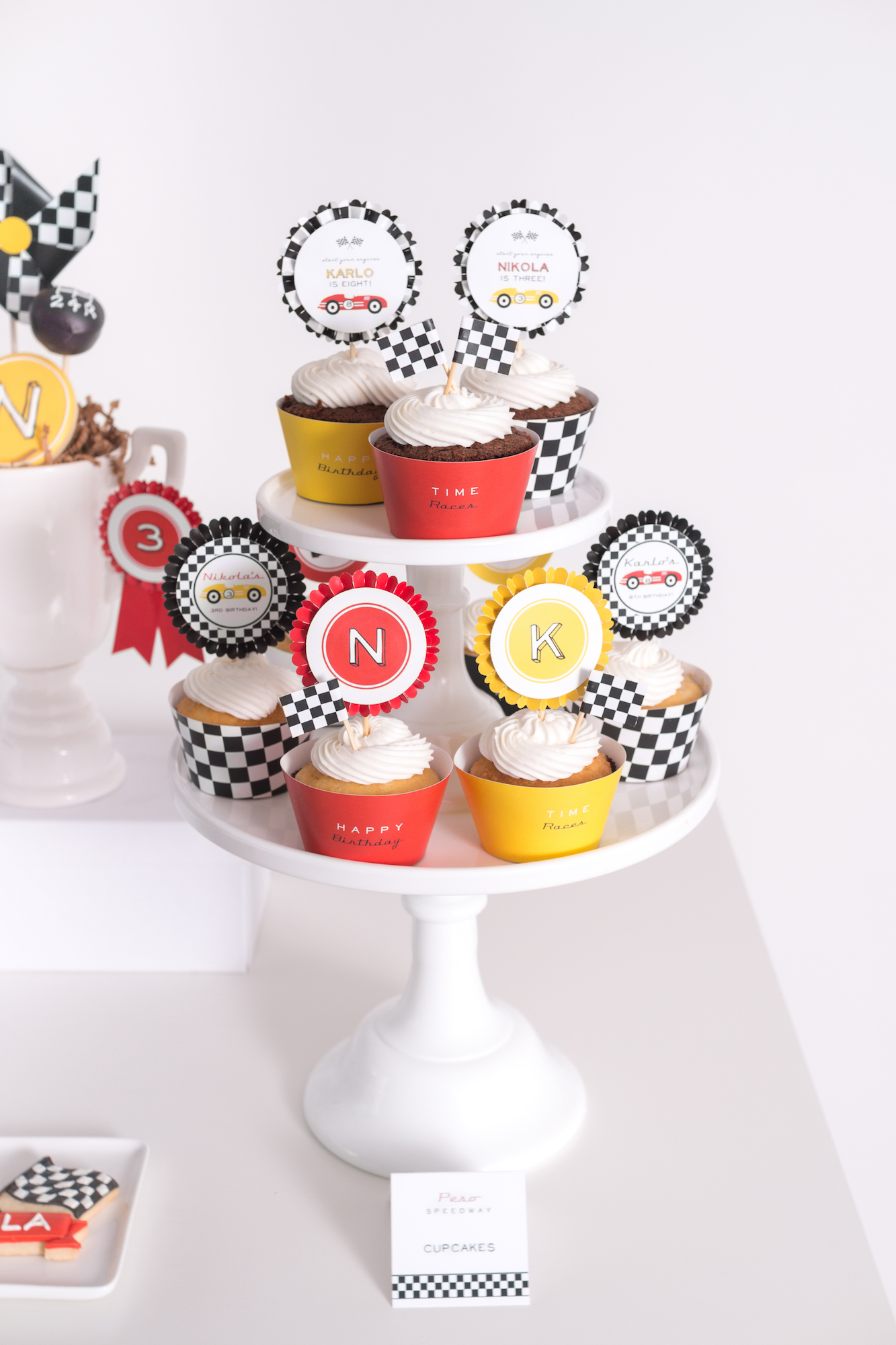 Race car party cupcakes with toppers | Black Twine | Tania's Design Studio