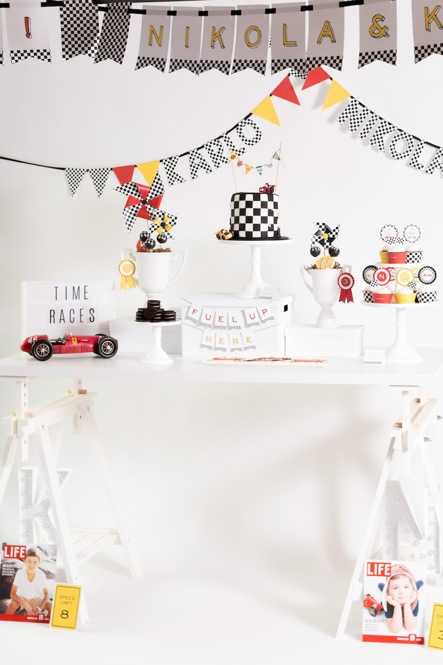 Race car party dessert table | Black Twine | Tania's Design Studio