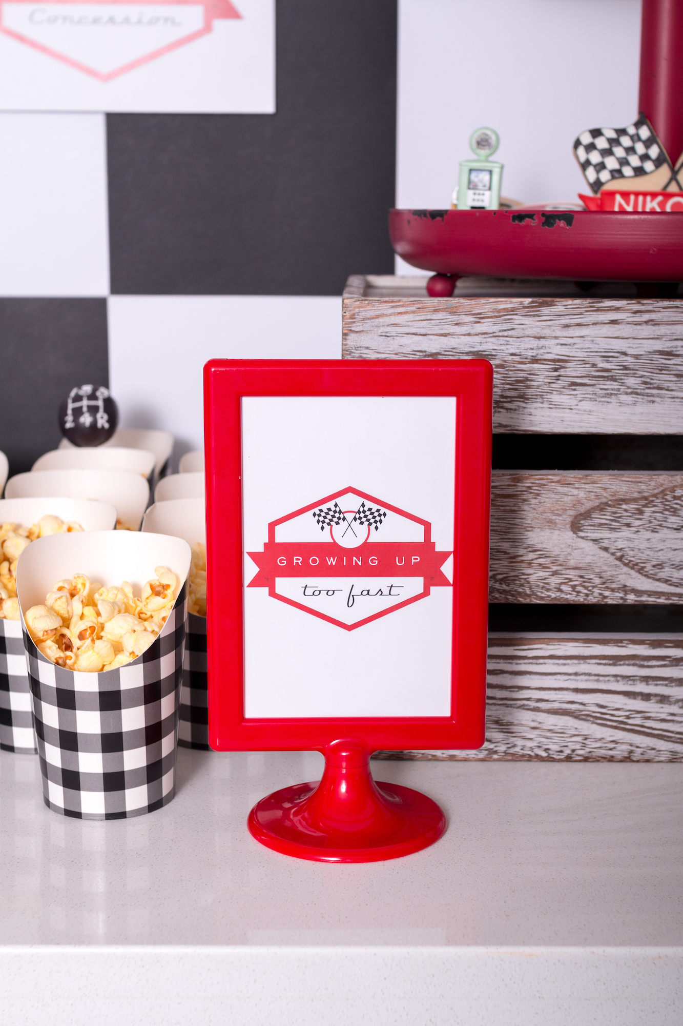 Race car party red frame | Black Twine | Tania's Design Studio