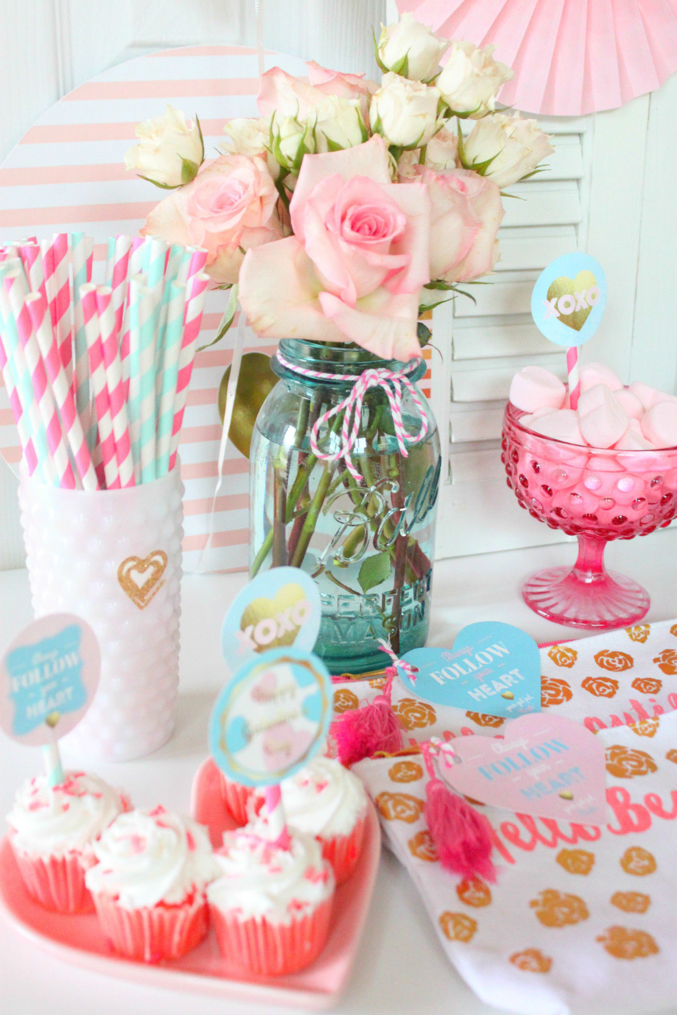 Cupcakes Flowers Straws Favors from Follow Your Heart Galentine's Day Party Dessert Table | Black Twine | The Party Porch