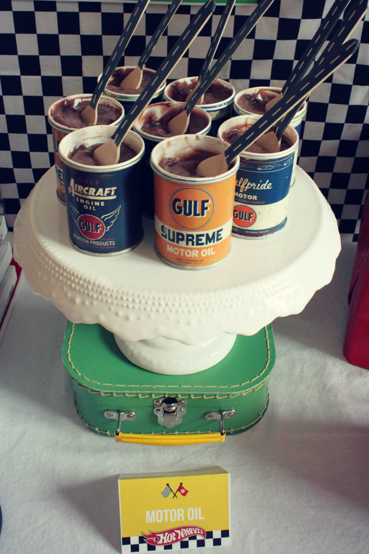 Motor Oil Chocolate Pudding from Hot Wheels Birthday Party | Black Twine | The Party Porch