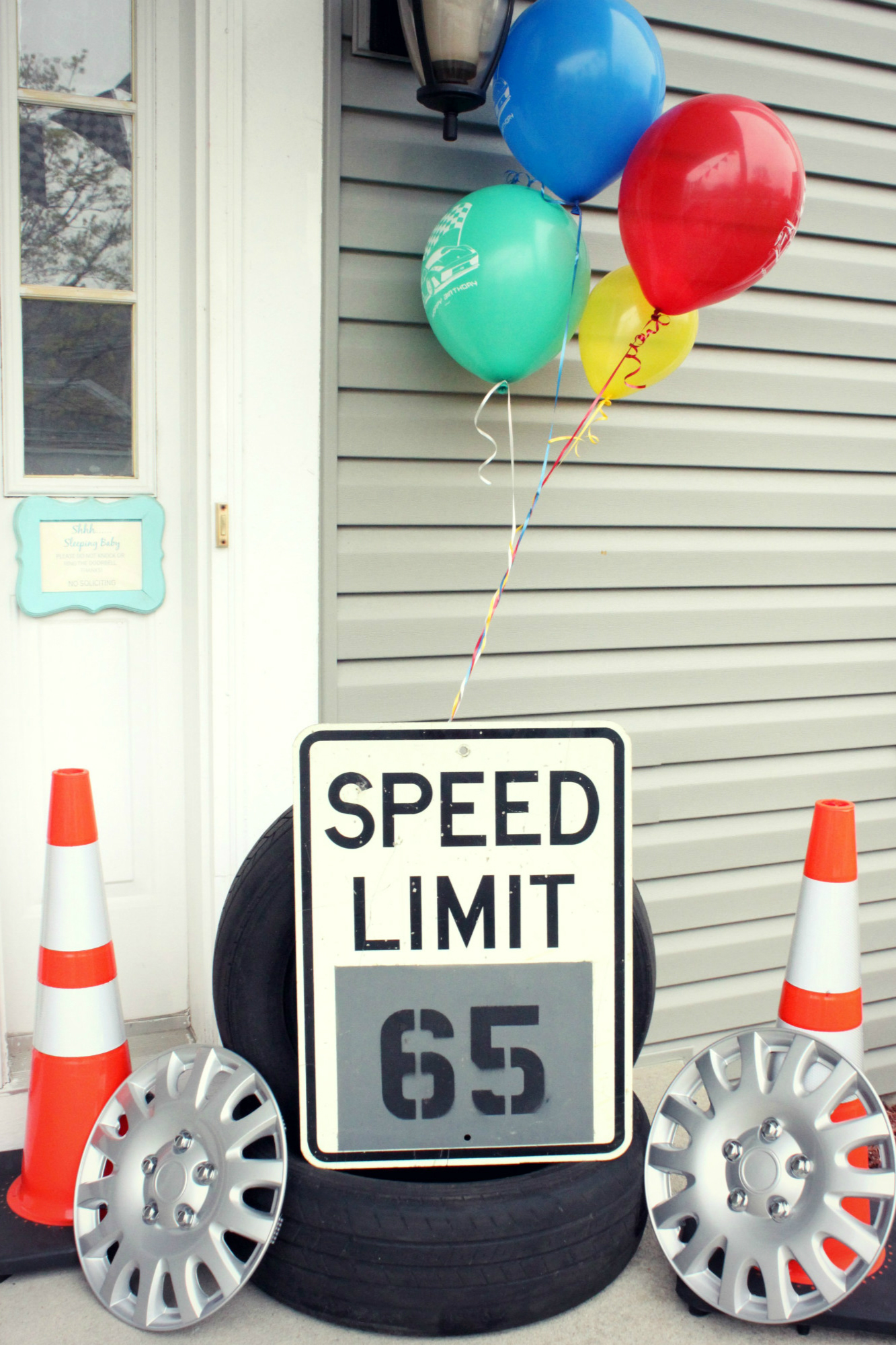 Hot Wheels Birthday Party Welcome Entrance Balloons Speed Limit Sign Tires and Cones | Black Twine | The Party Porch