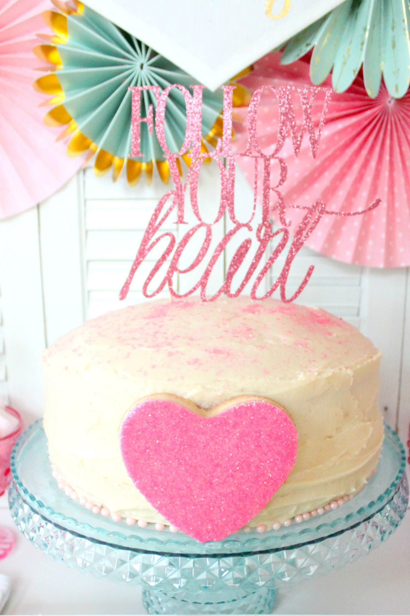 Pink Champagne Cake with Homemade Buttercream Frosting from Follow Your Heart Galentine's Day Party Dessert Table | Black Twine | The Party Porch