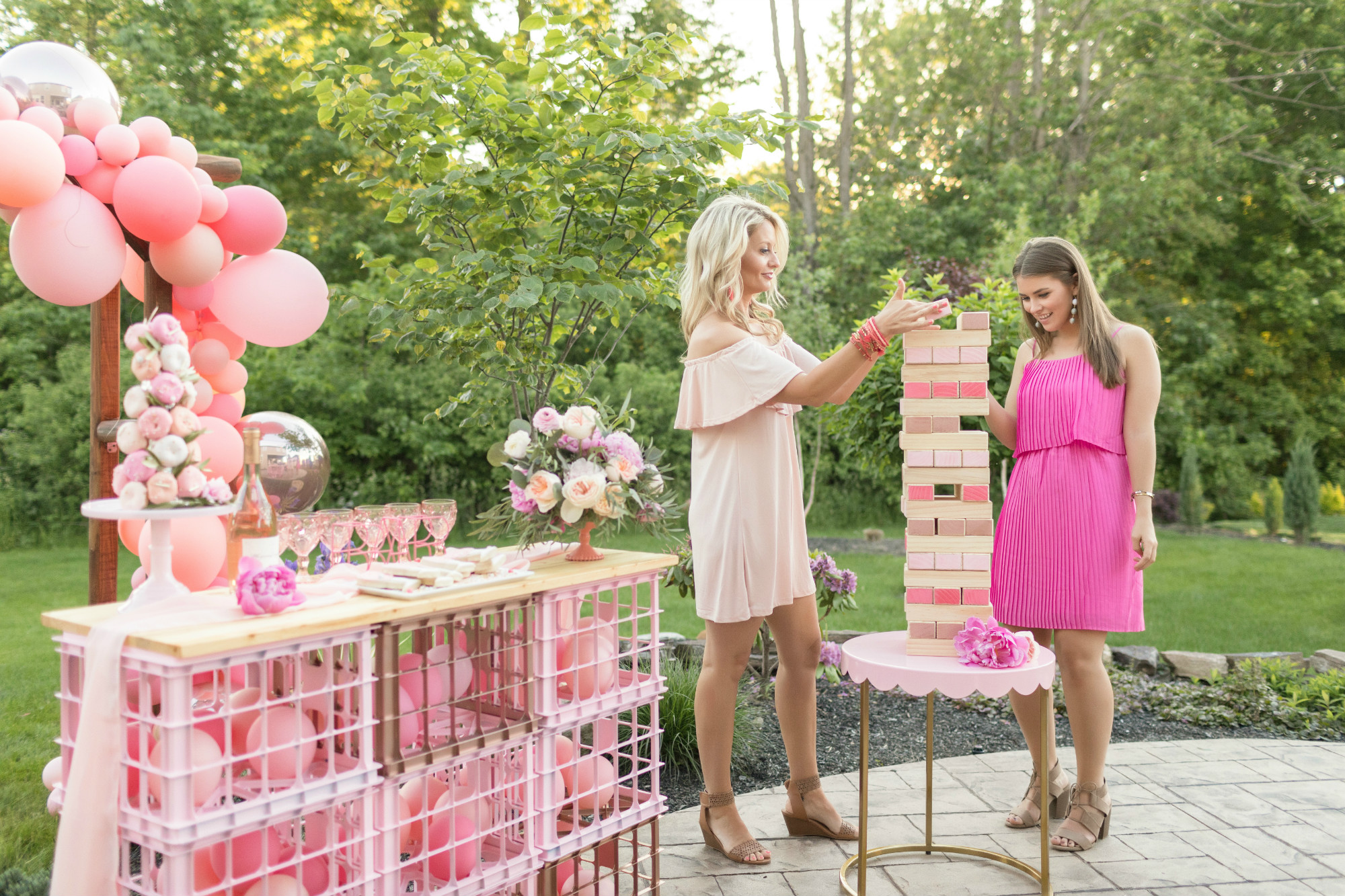 Rose bar and Jenga from One Stylish Party Rose All Day Dinner Party | Black Twine