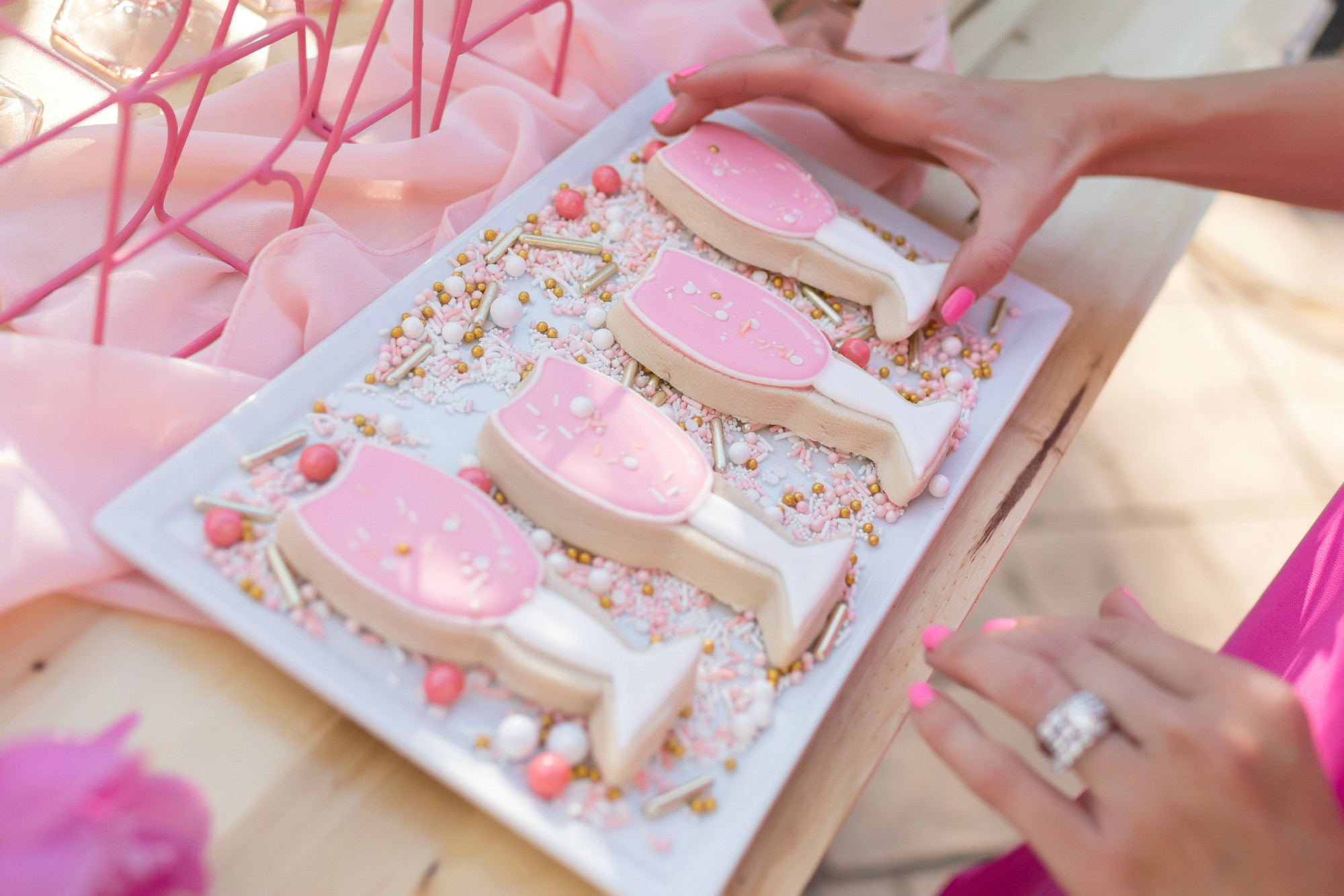 Rose glass sugar cookies from One Stylish Party Rose All Day Dinner Party | Black Twine