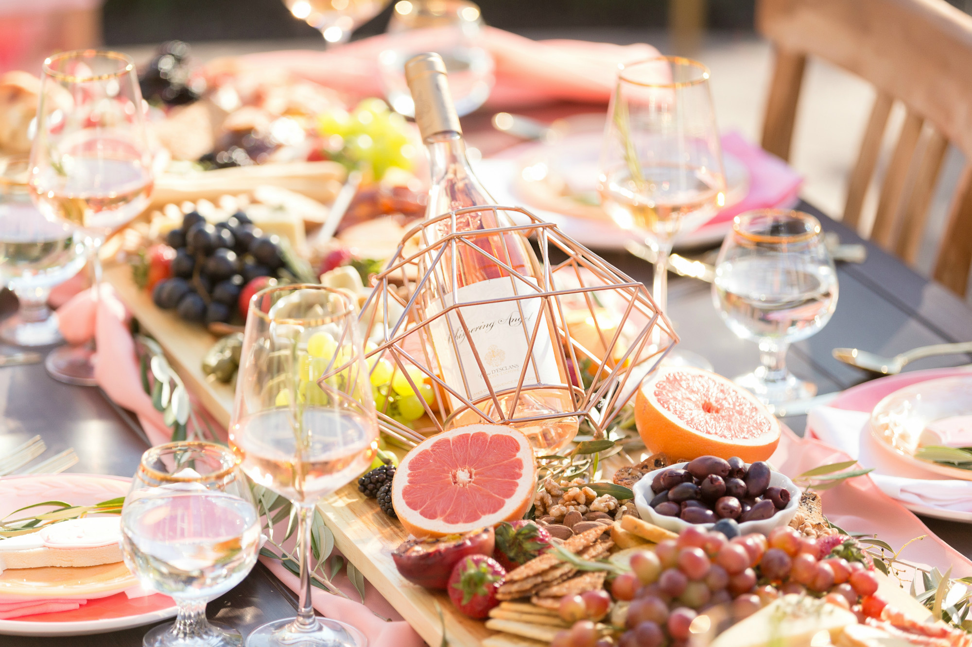 Whispering Angel and Charcuterie Board from One Stylish Party Rose All Day Dinner Party | Black Twine