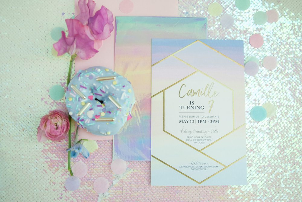 Party invitation for Rainbow Iridescent Birthday Party | Black Twine | A Charming Fete