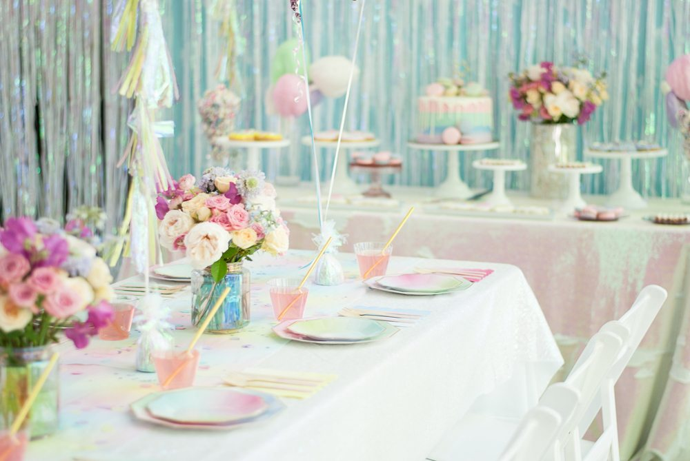 Tablescape and Dessert Table from Rainbow Iridescent Birthday Party | Black Twine | A Charming Fete