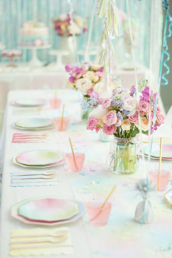 Place setting and tablescape from Rainbow Iridescent Birthday Party | Black Twine | A Charming Fete