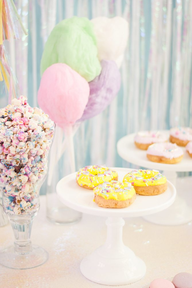 Donuts Popcorn Cotton Candy from Rainbow Iridescent Birthday Party | Black Twine | A Charming Fete