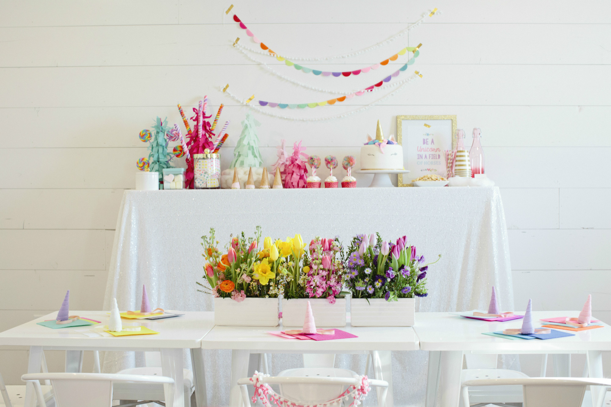 Dessert Table and Tablescape from Rainbow Unicorn Birthday Party | Black Twine | Cherry Blossom Events