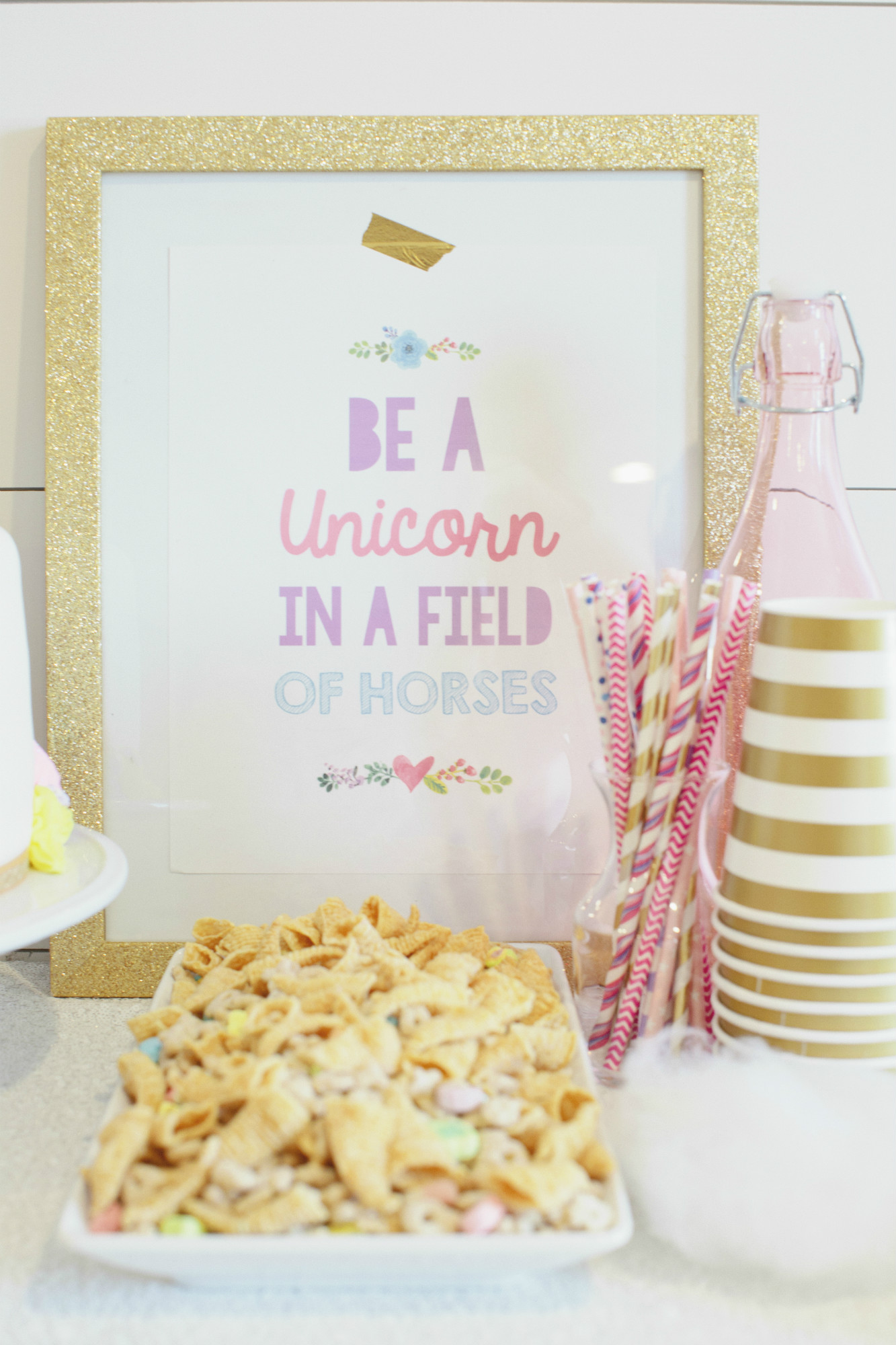 Be A Unicorn Sign from Rainbow Unicorn Birthday Party | Black Twine | Cherry Blossom Events