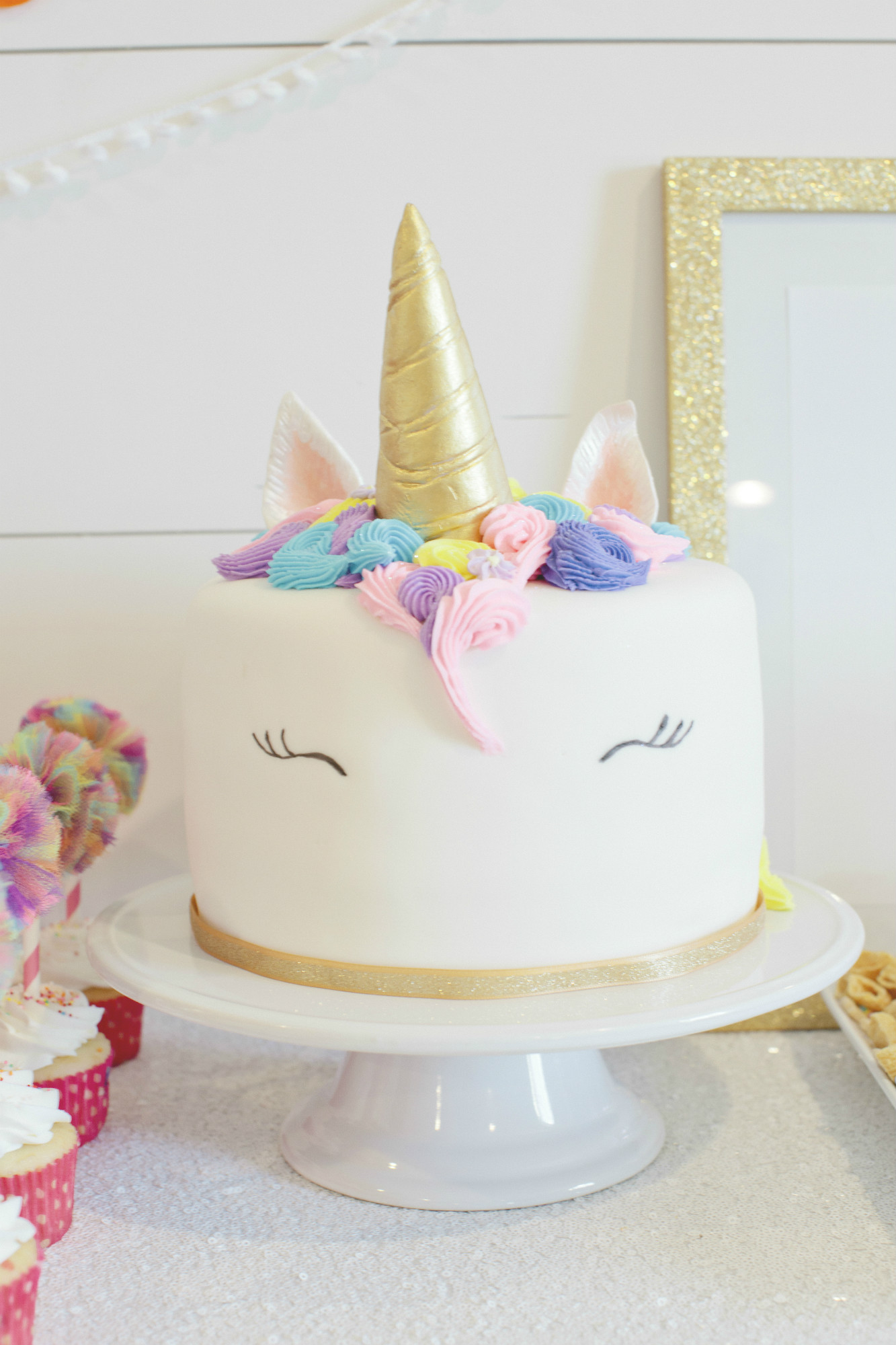 Unicorn Cake from Rainbow Unicorn Birthday Party | Black Twine | Cherry Blossom Events