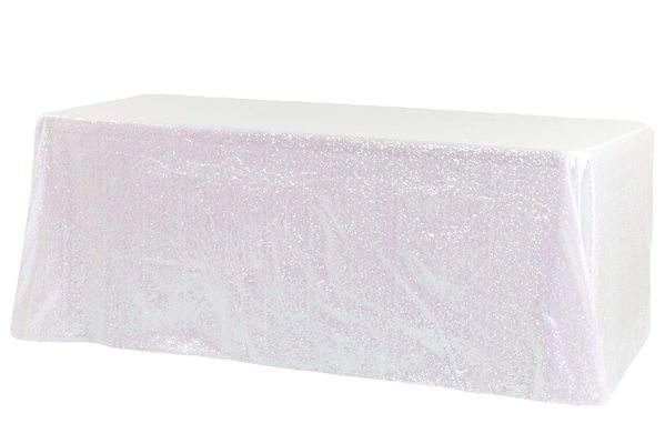 white iridescent sequined tablecloth linen