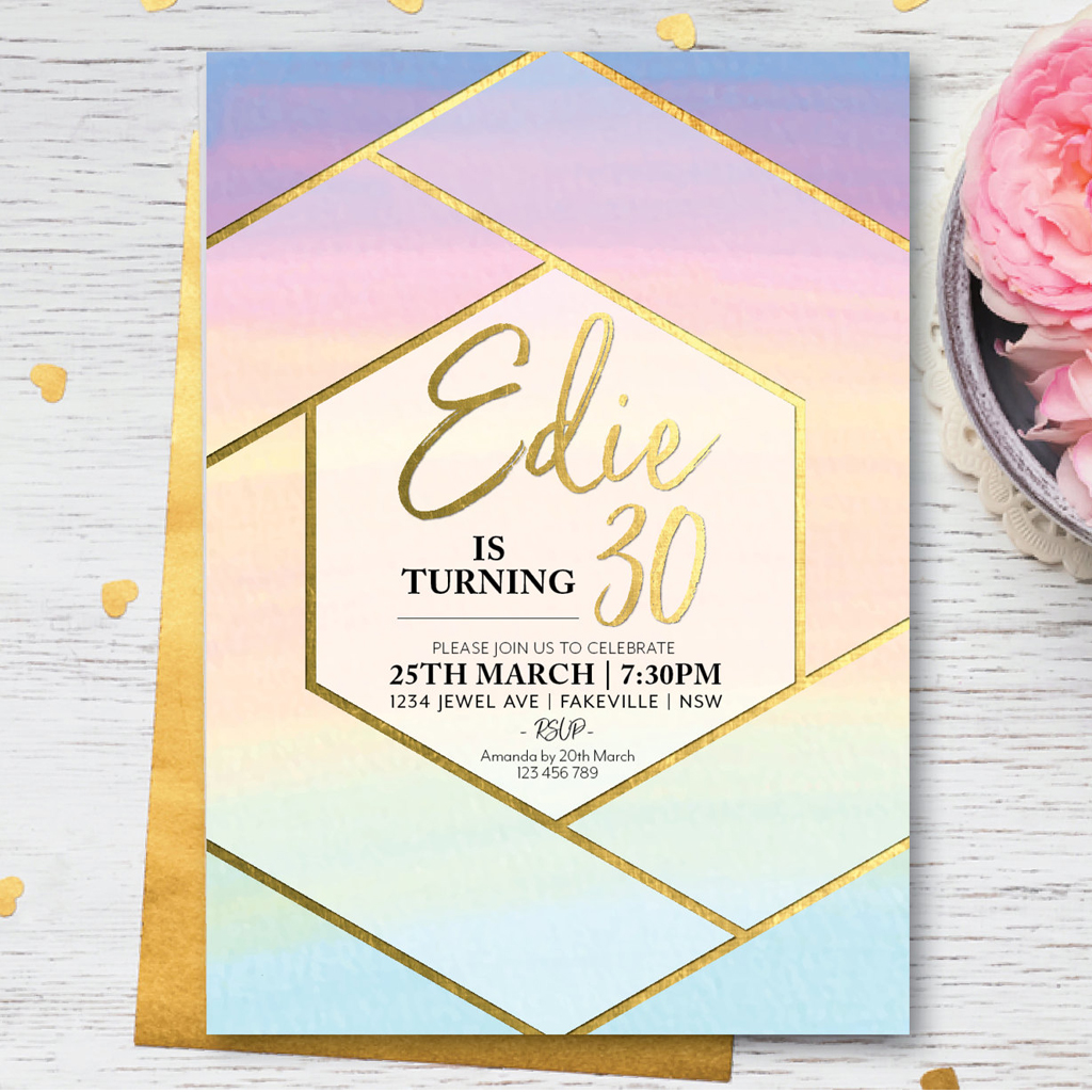 Rainbow watercolor geometric birthday invitation DIY Printable | La Petite Fete | A Charming Fete