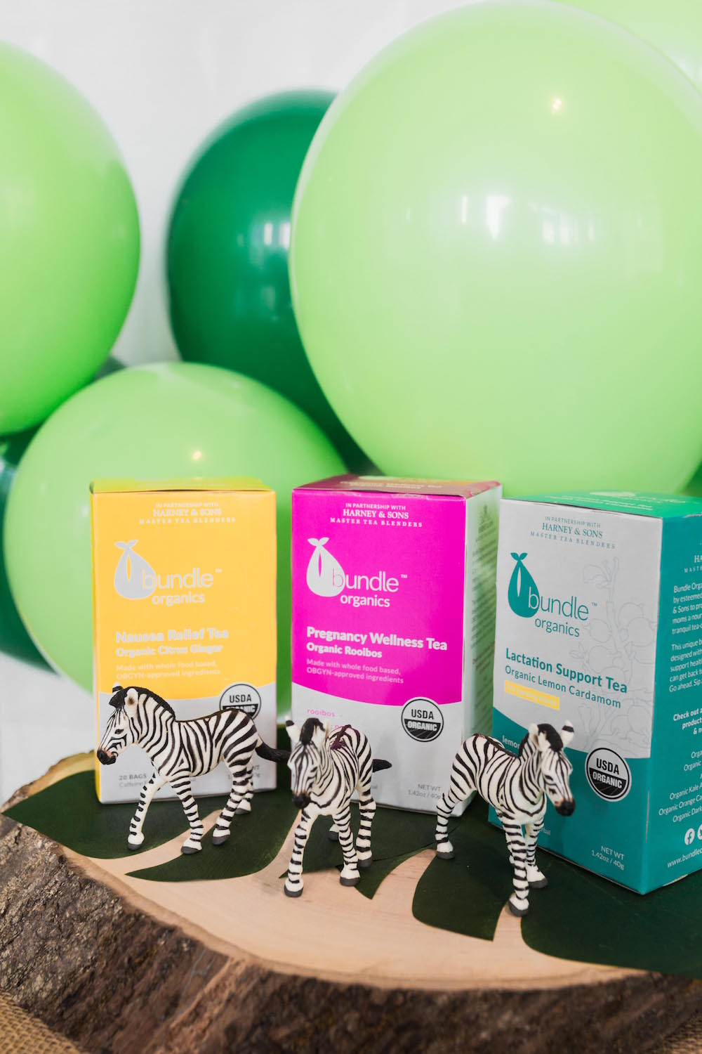 Safari Baby Shower Zebras with Bundle Organics tea | Black Twine