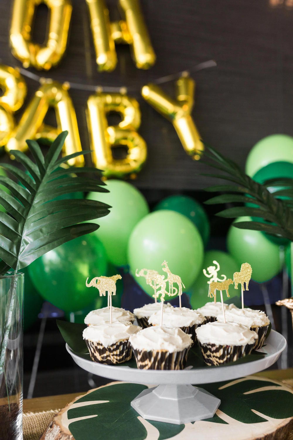 Safari Baby Shower cupcakes with animal toppers | Black Twine