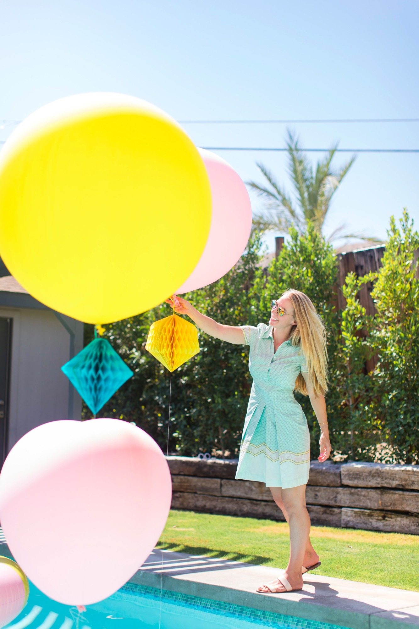 Pool balloons honeycombs from Bachelorette Brunch by But First Party and Bonjour Fete | Black Twine