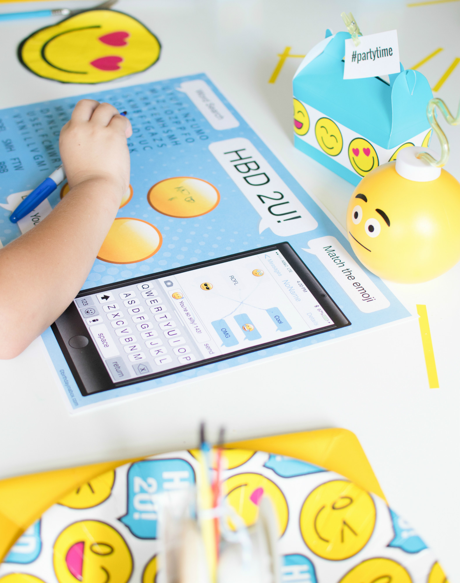 Emoji activity placemat from Emoji Birthday Party | Twinkle Twinkle Little Party | Black Twine