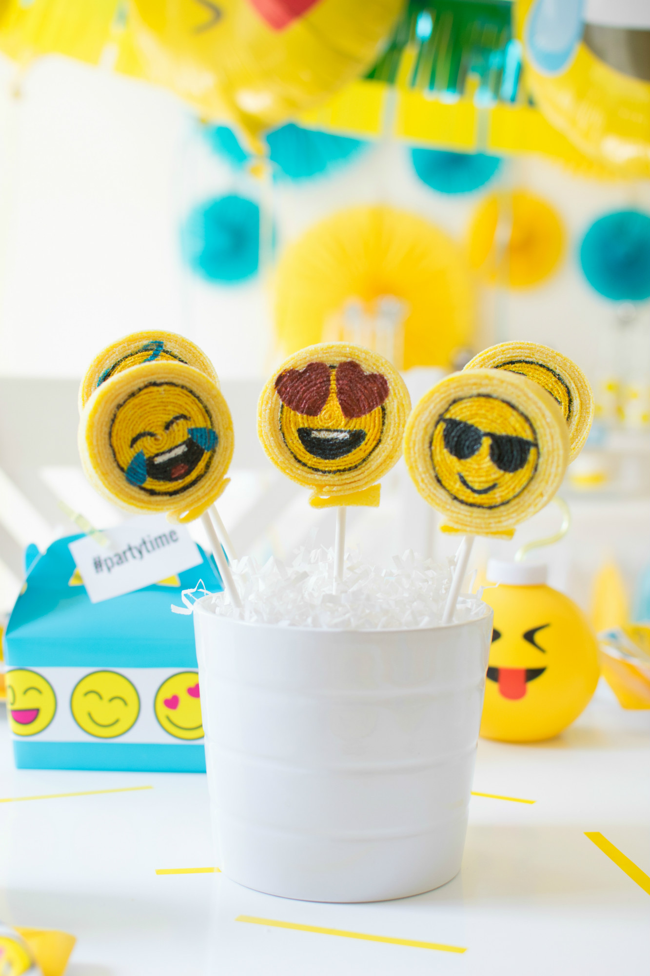 Emoji candy kabobs from Emoji Birthday Party | Twinkle Twinkle Little Party | Black Twine