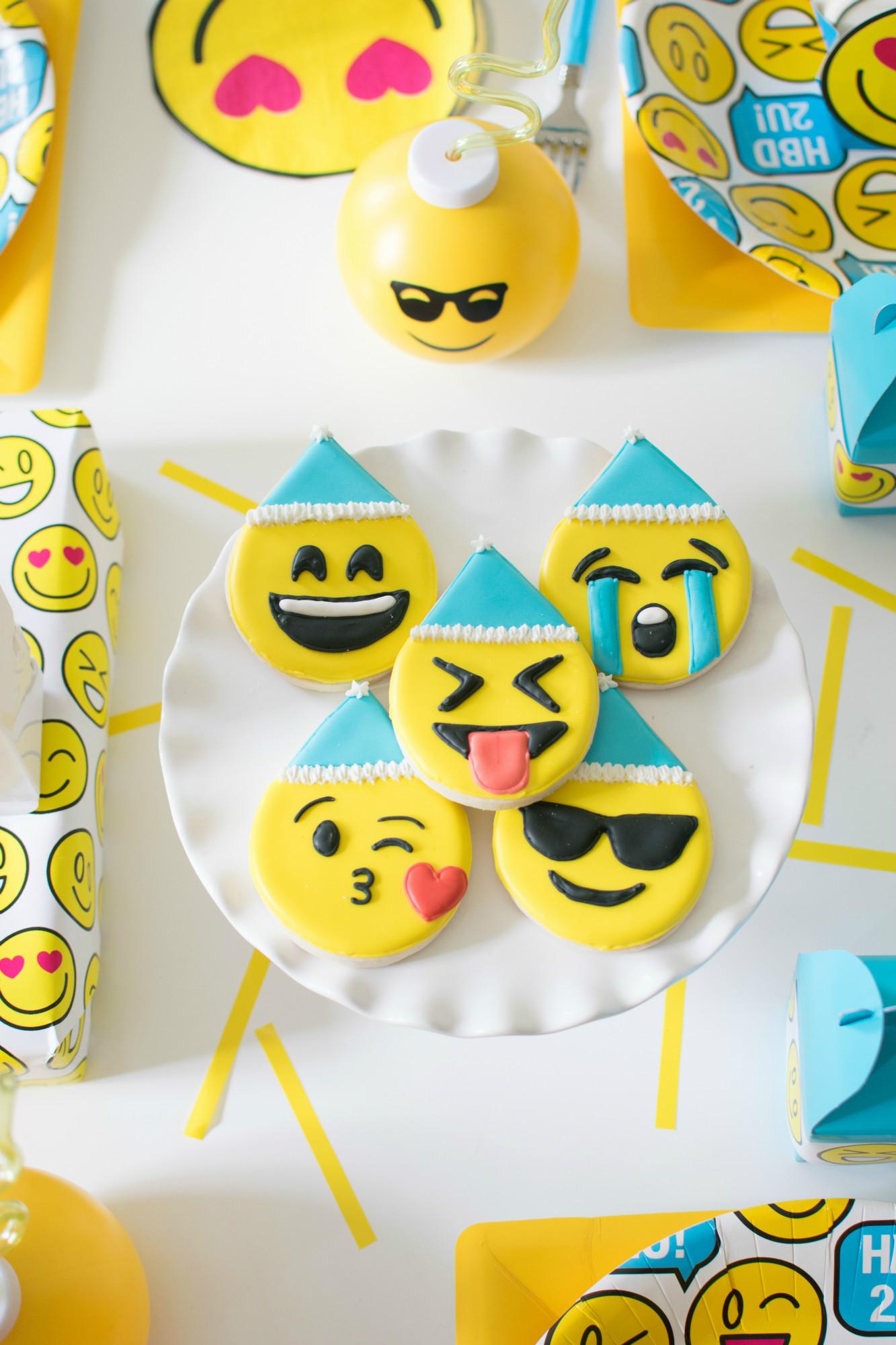 Emoji sugar cookies from Emoji Birthday Party   Twinkle Twinkle Little Party   Black Twine