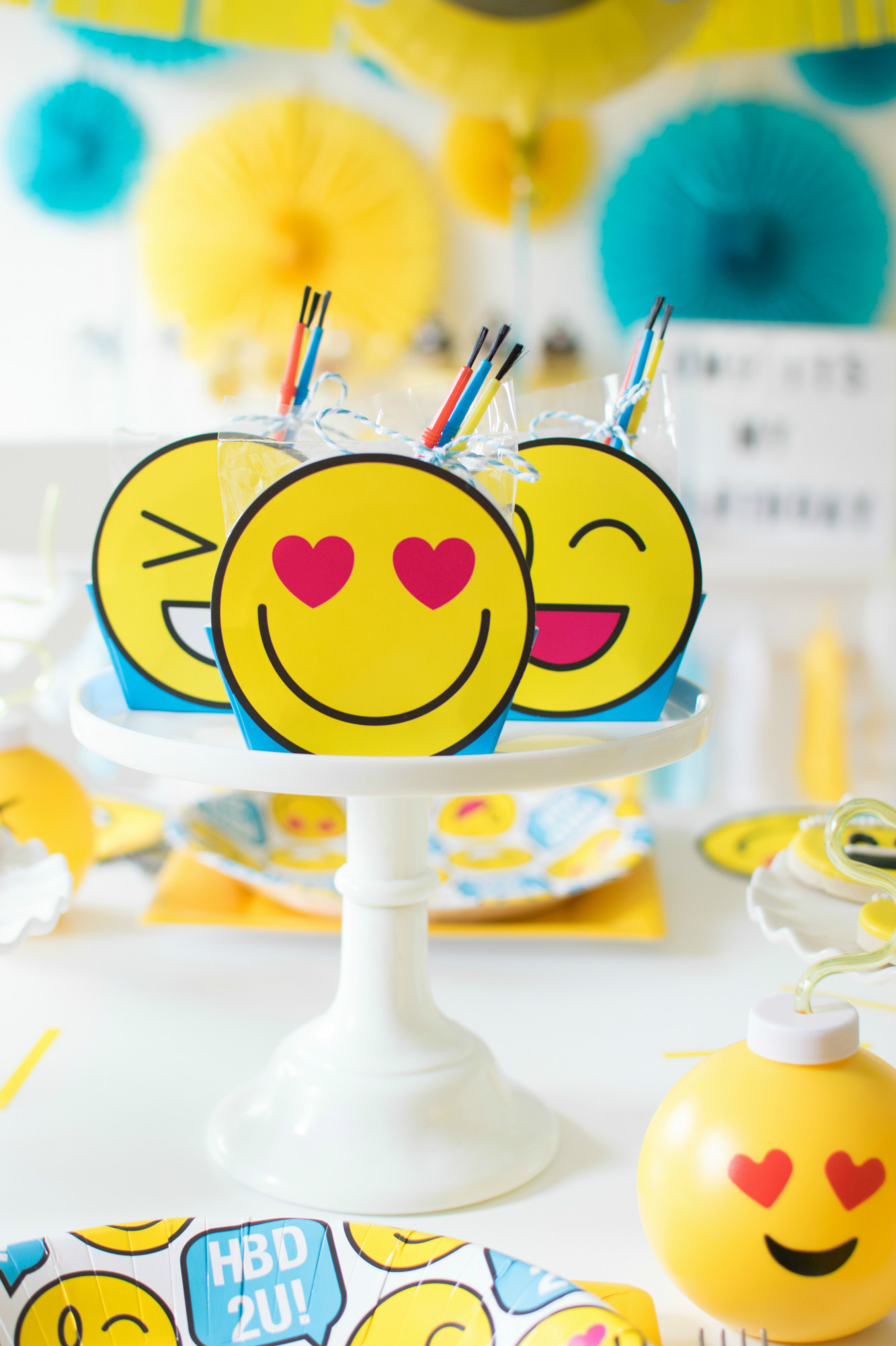 Emoji DIY paintable cookie kit from Emoji Birthday Party | Twinkle Twinkle Little Party | Black Twine