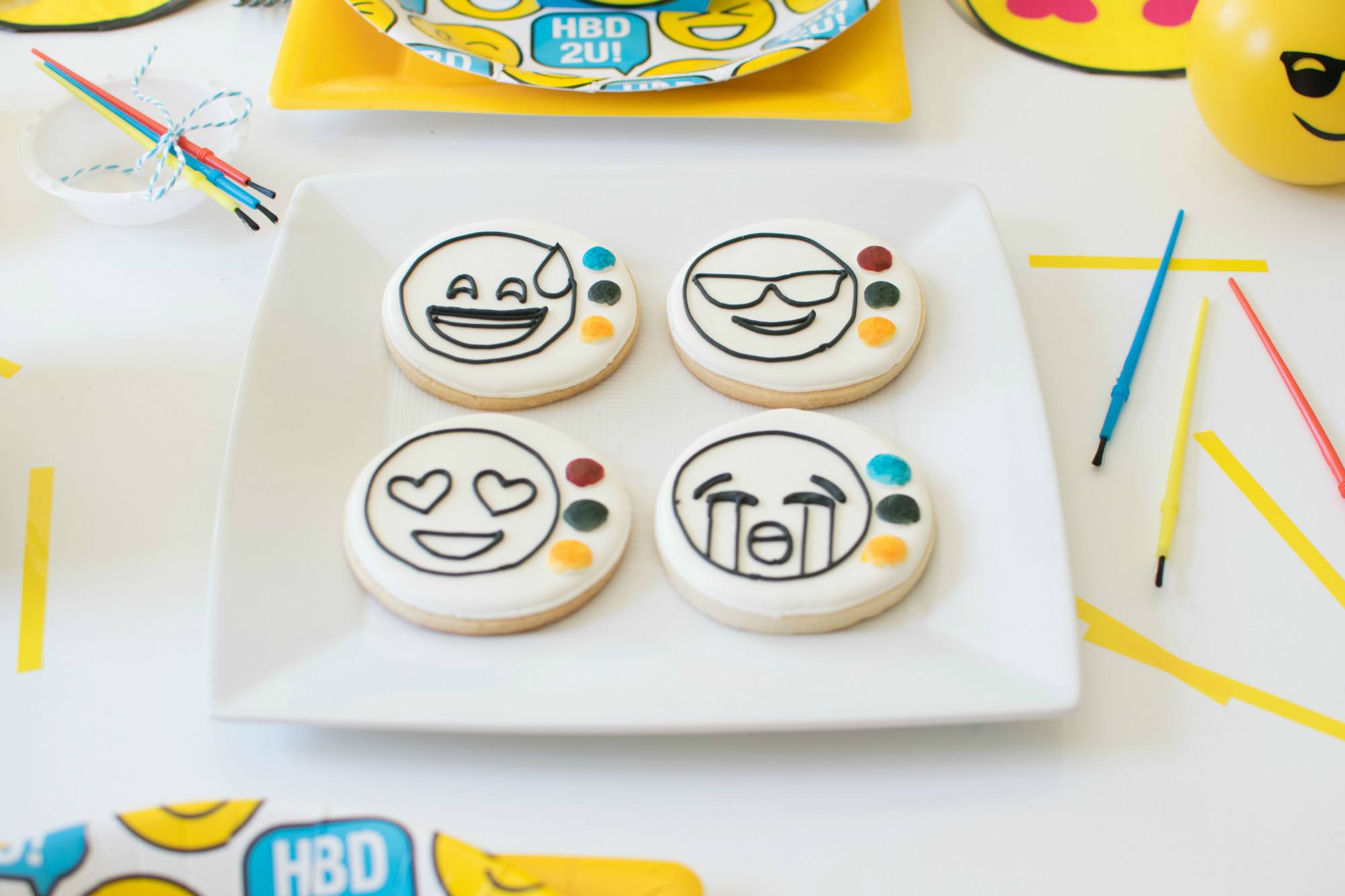 DIY Paintable Emoji Cookies from Emoji Birthday Party   Twinkle Twinkle Little Party   Black Twine