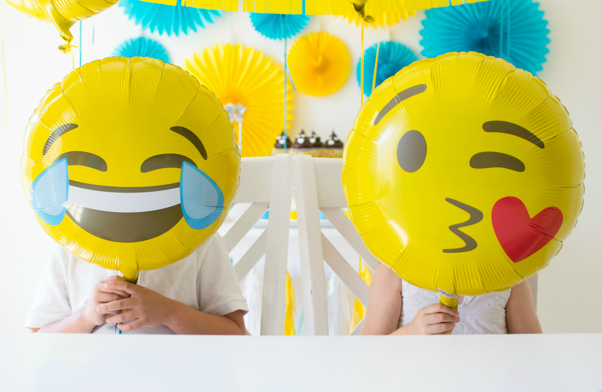 Emoji balloons from Emoji Birthday Party | Twinkle Twinkle Little Party | Black Twine