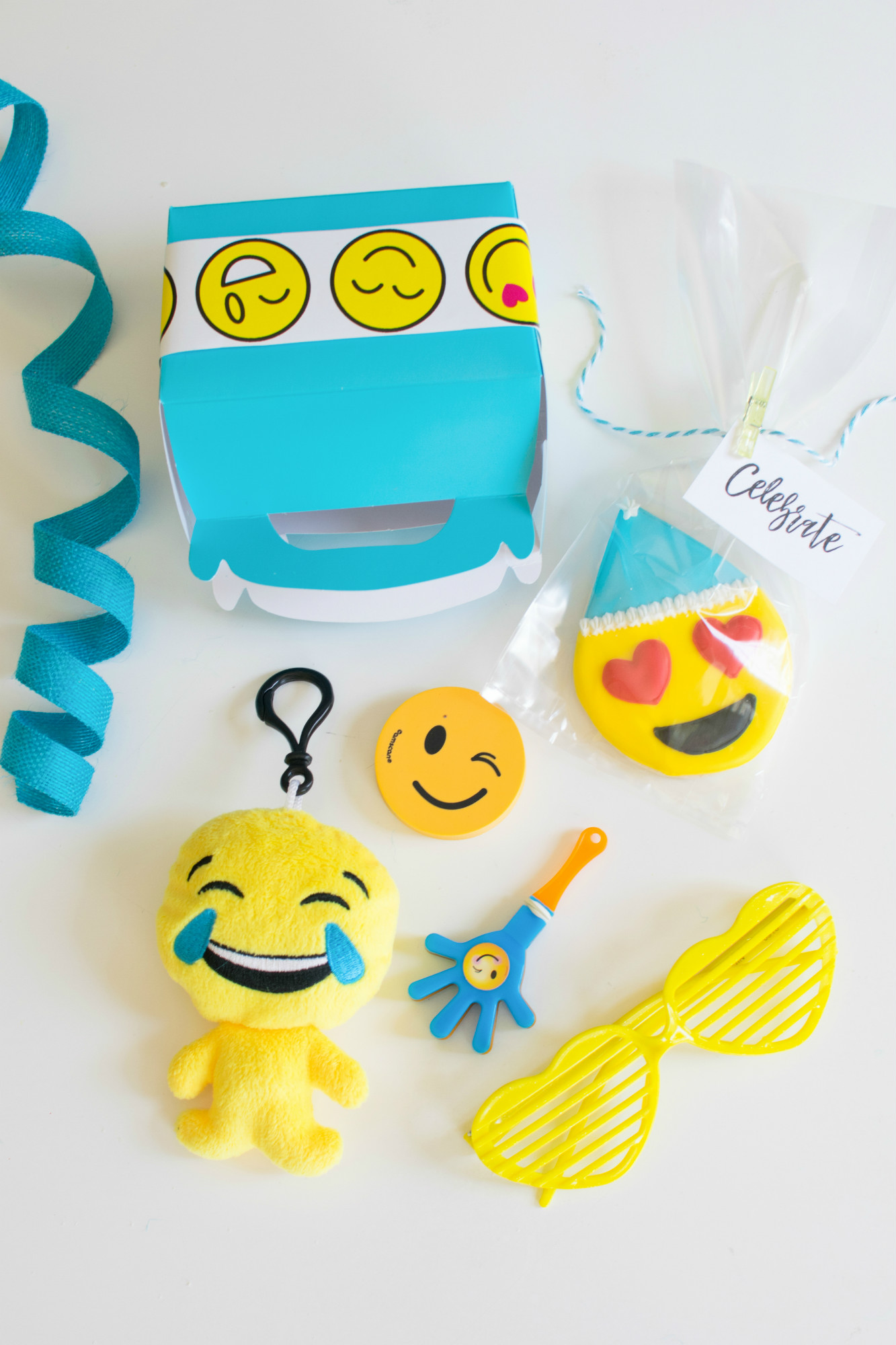 Emoji favor boxes from Emoji Birthday Party | Twinkle Twinkle Little Party | Black Twine