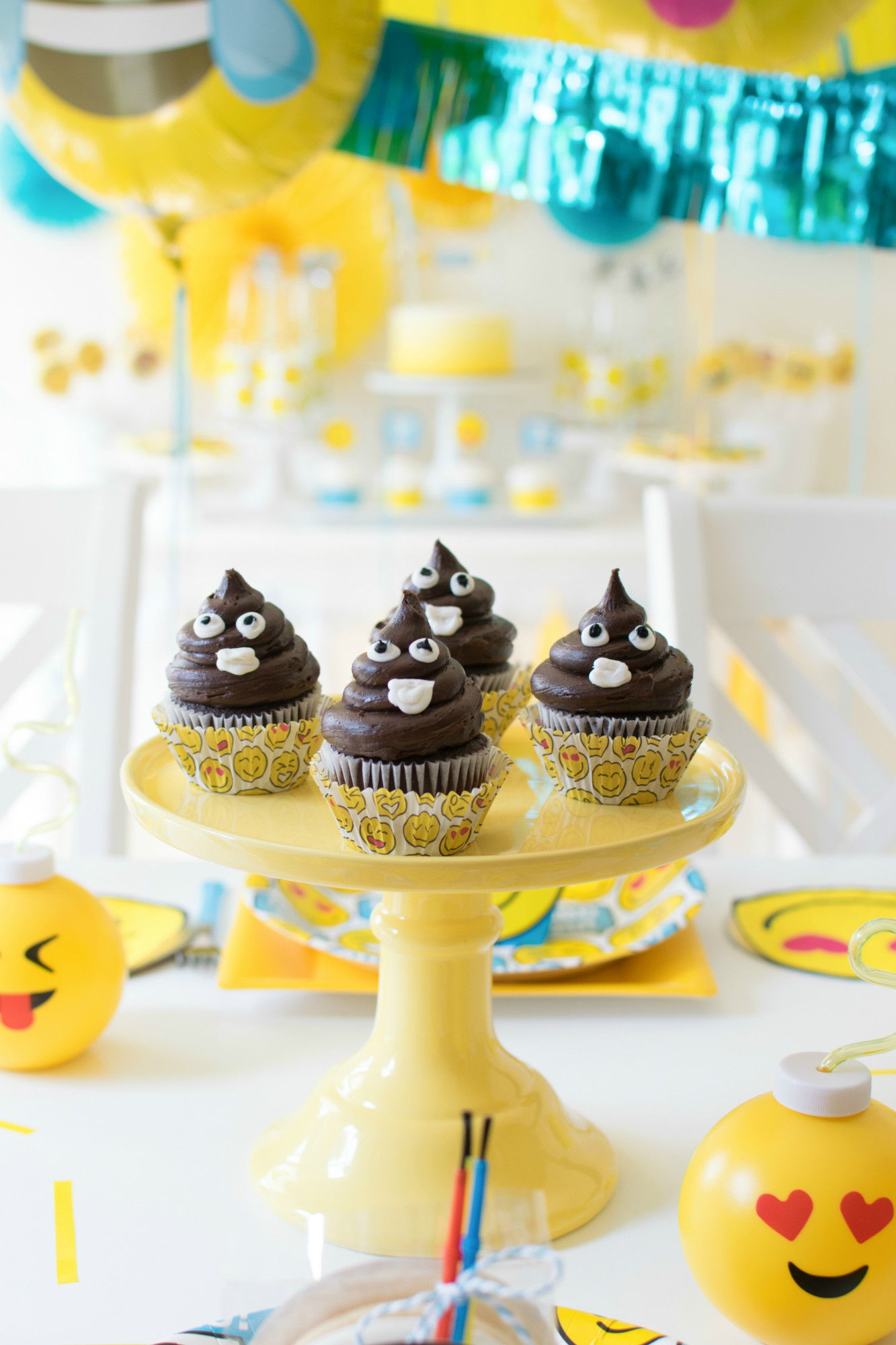 Emoji poop cupcakes from Emoji Birthday Party | Twinkle Twinkle Little Party | Black Twine