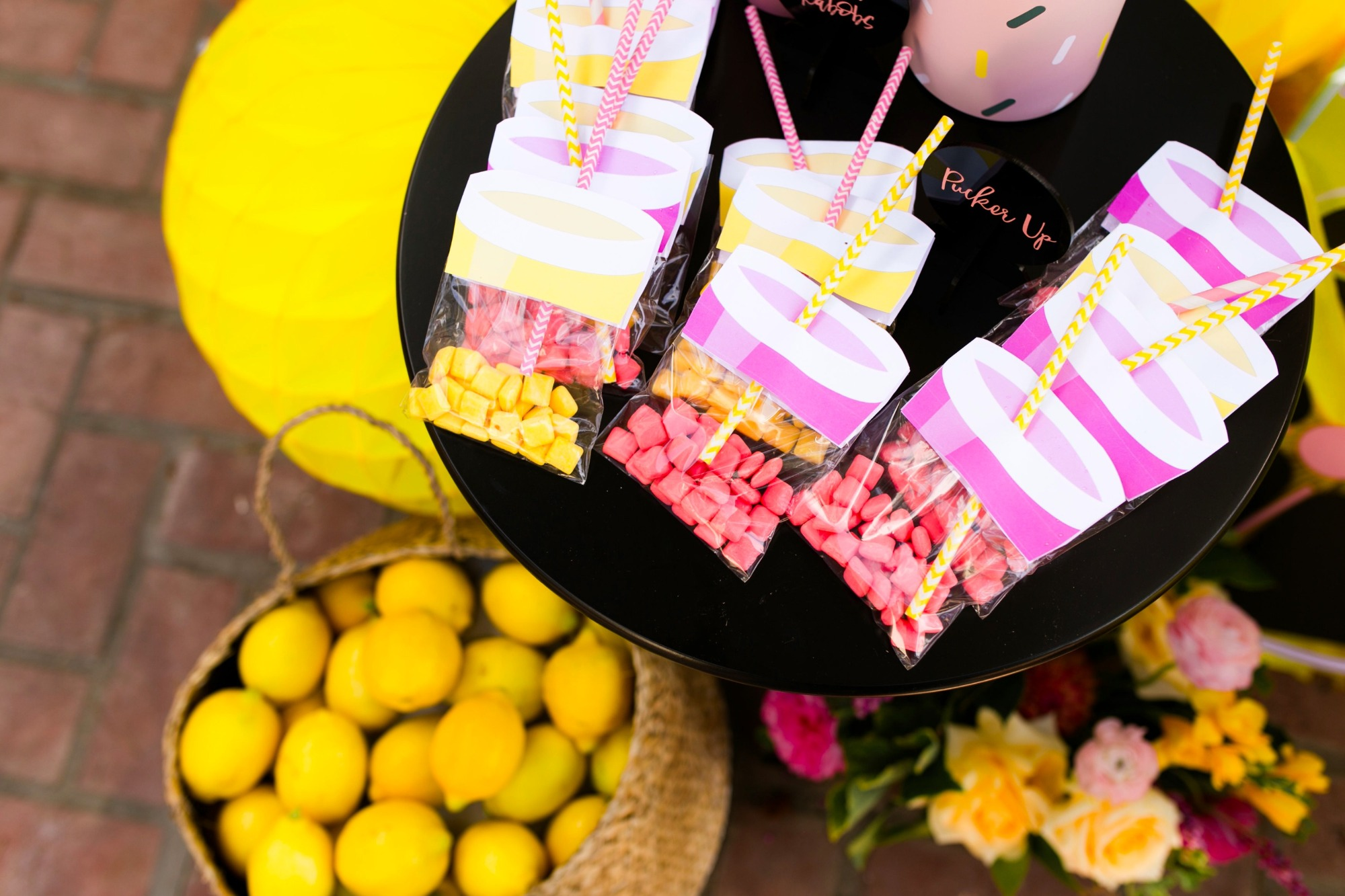 Lemonade candy party favors from Lemonade Stand Birthday Party by Forrest and J. | Black Twine