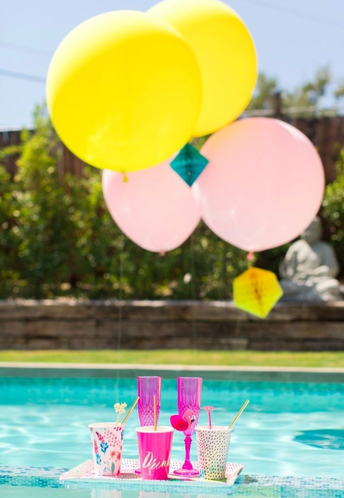 Poolside Drinks with Balloons from Bachelorette Brunch by But First Party and Bonjour Fete | Black Twine