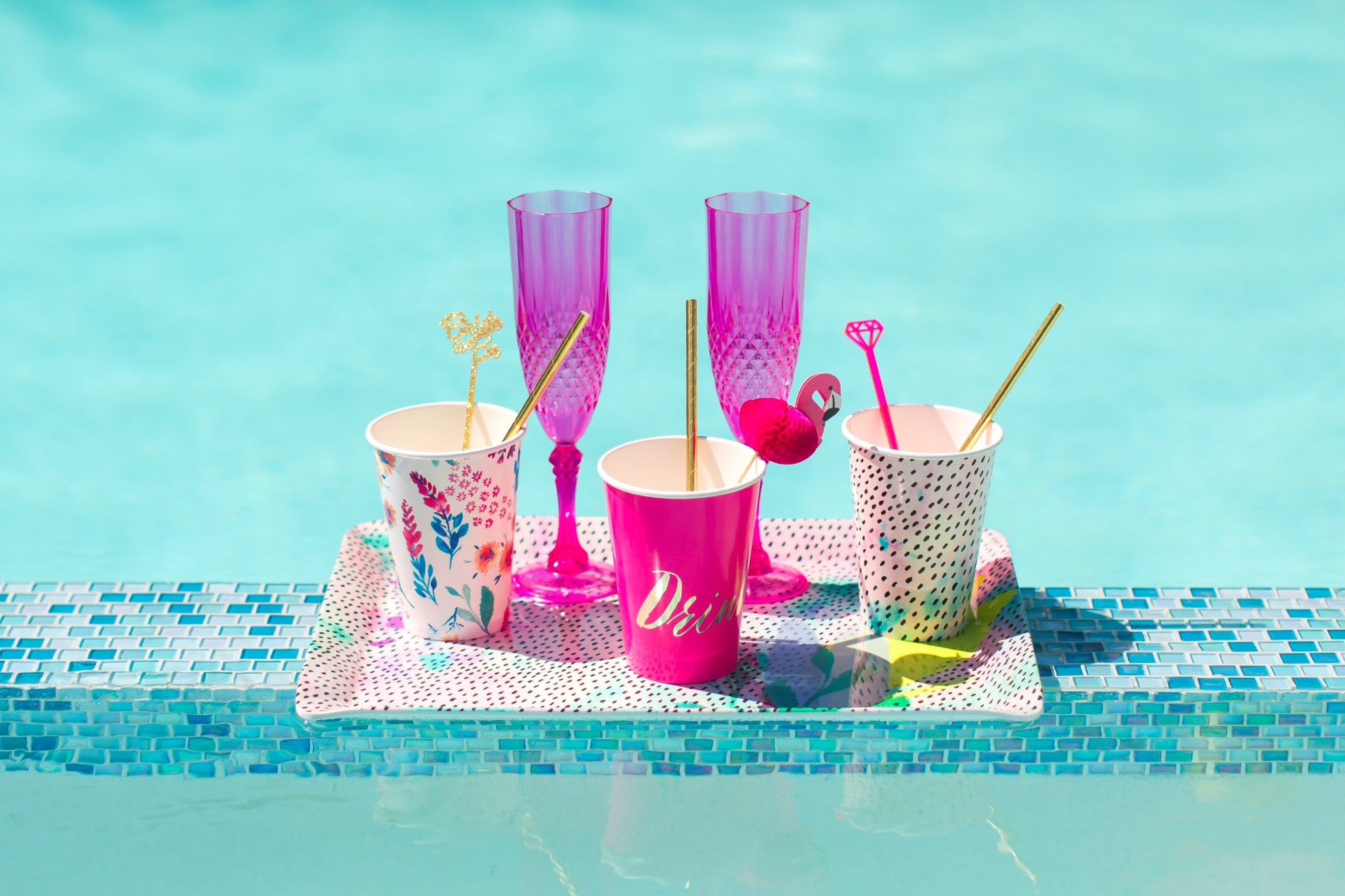 Drinks Beverages Poolside from Bachelorette Brunch by But First Party and Bonjour Fete | Black Twine