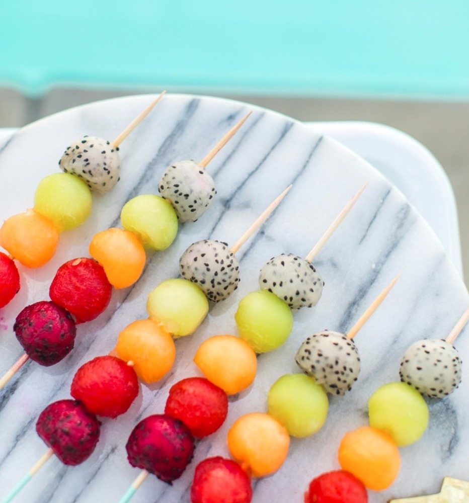 Rainbow fruit skewers from Bachelorette Brunch by But First Party and Bonjour Fete | Black Twine