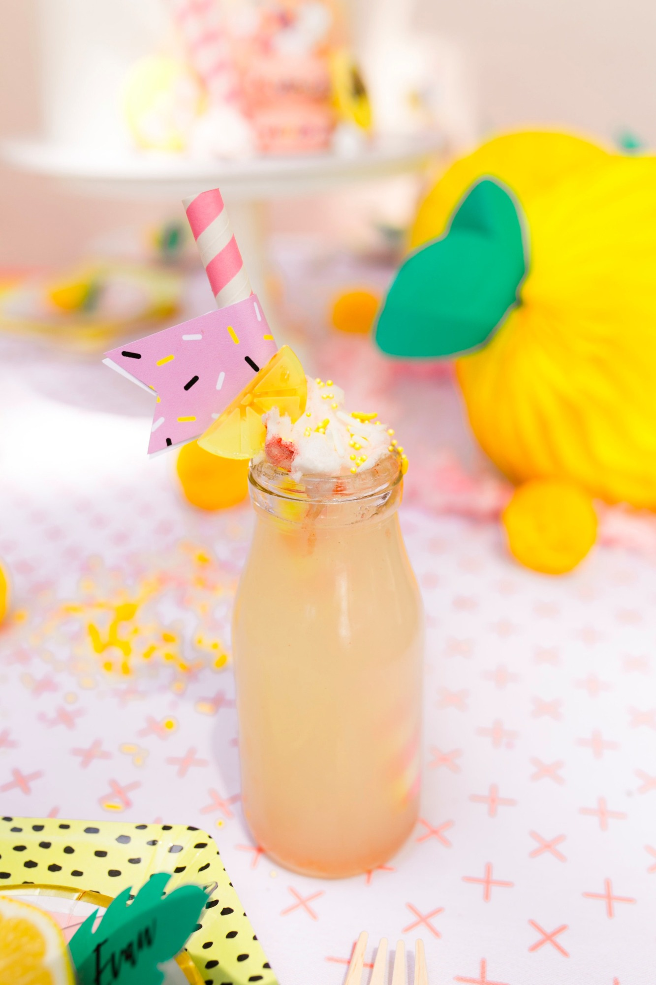 Lemonade in glass bottles from Lemonade Stand Birthday Party by Forrest and J. | Black Twine