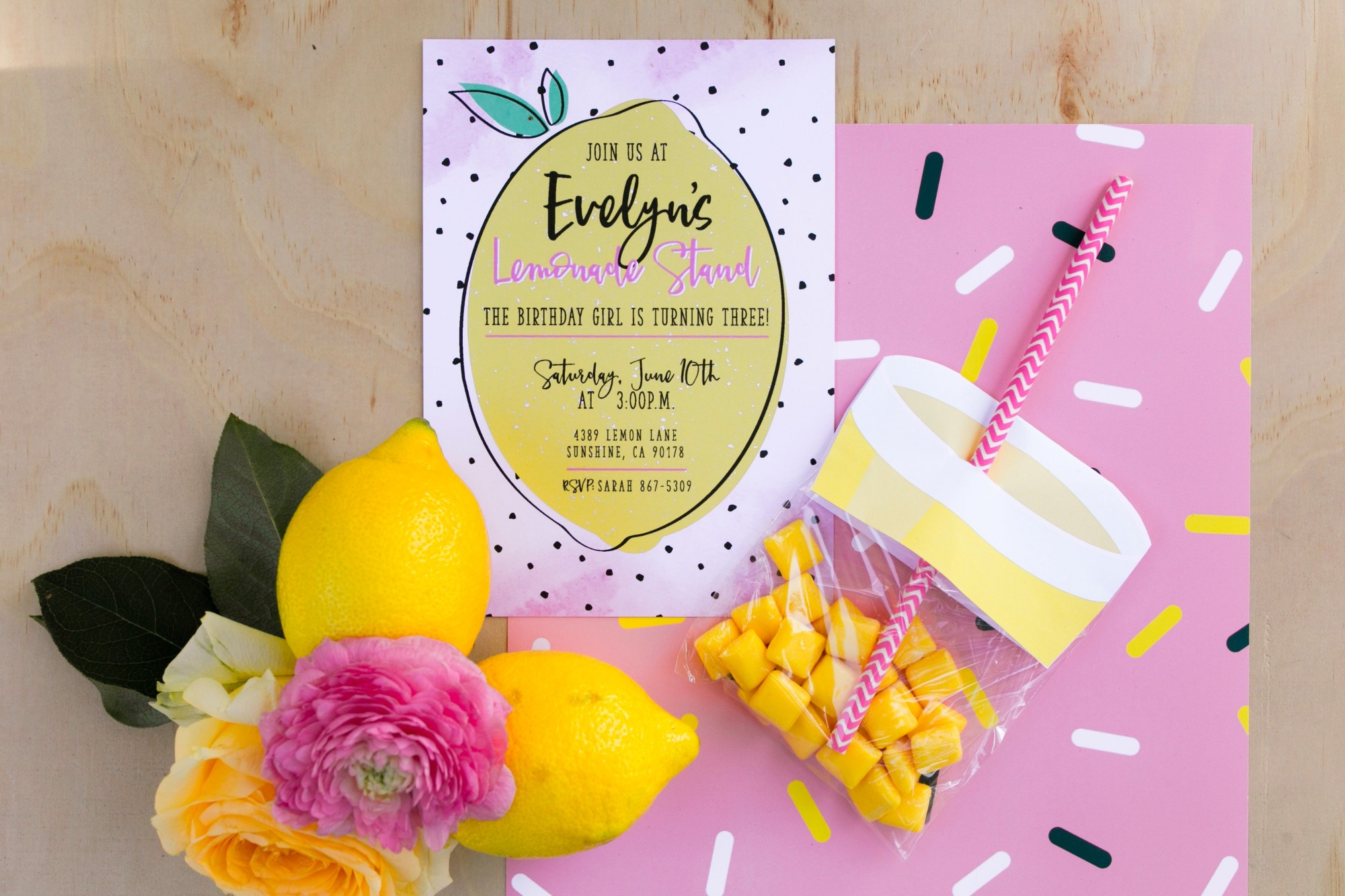 lemonade invitation from Lemonade Stand Birthday Party by Forrest and J. | Black Twine